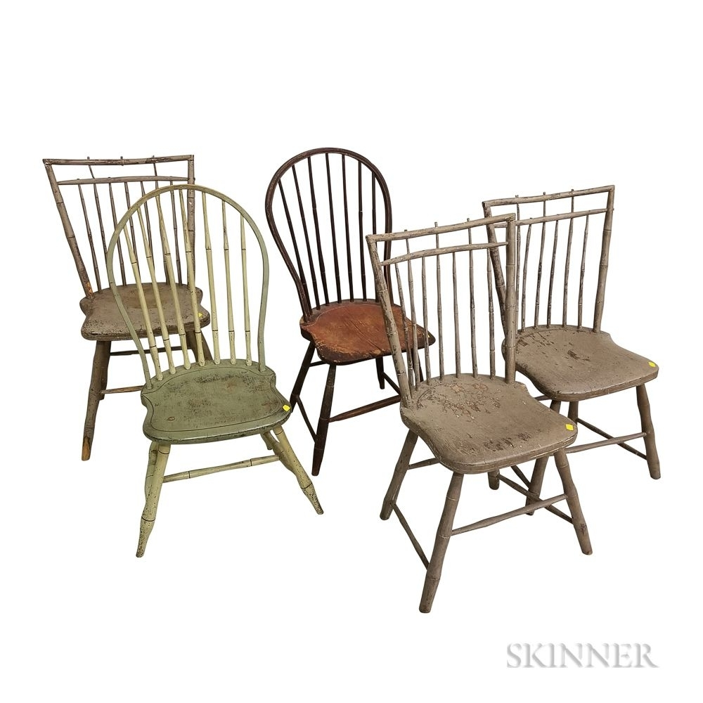 Five Painted Bamboo Turned Windsor Side Chairs | Sale Number 3173M With Most Recently Released Combs 5 Piece 48 Inch Extension Dining Sets With Mindy Side Chairs (Image 9 of 20)