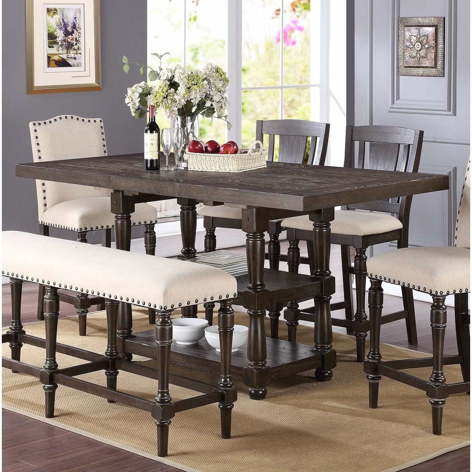 Fortunat Counter Height Extendable Dining Table | Kitchen/dining With Regard To 2017 Ina Pewter 60 Inch Counter Tables With Frosted Glass (Photo 9 of 20)