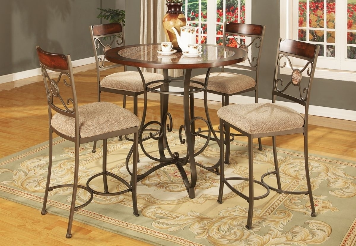 Francine 5 Pc Counter Height Dining Room | Badcock & More Regarding Most Up To Date Valencia 3 Piece Counter Sets With Bench (Image 4 of 20)
