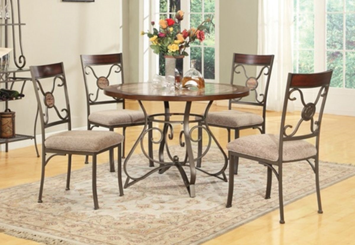 Francine 5 Pc Dining Room | Badcock & More For Most Recent Valencia 5 Piece Round Dining Sets With Uph Seat Side Chairs (Image 11 of 20)