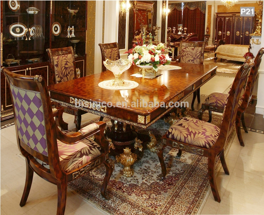 French Baroque Style Mahogany Dining Table/ Palace Solid Wood Regarding Latest Market 6 Piece Dining Sets With Side Chairs (Photo 16 of 20)