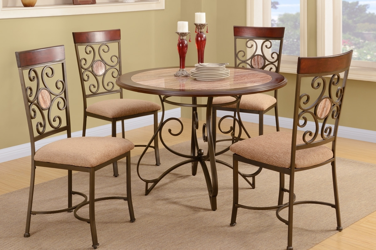 French Fashion With Metal Frame Dining Table And Chair Set Mission In Newest Craftsman 5 Piece Round Dining Sets With Side Chairs (Image 11 of 20)