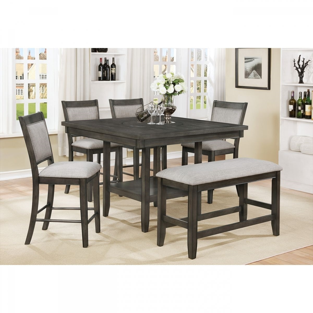 Fulton Gray 6 Pc Counter Height Dining Room | Badcock & More Within Latest Valencia 3 Piece Counter Sets With Bench (View 9 of 20)