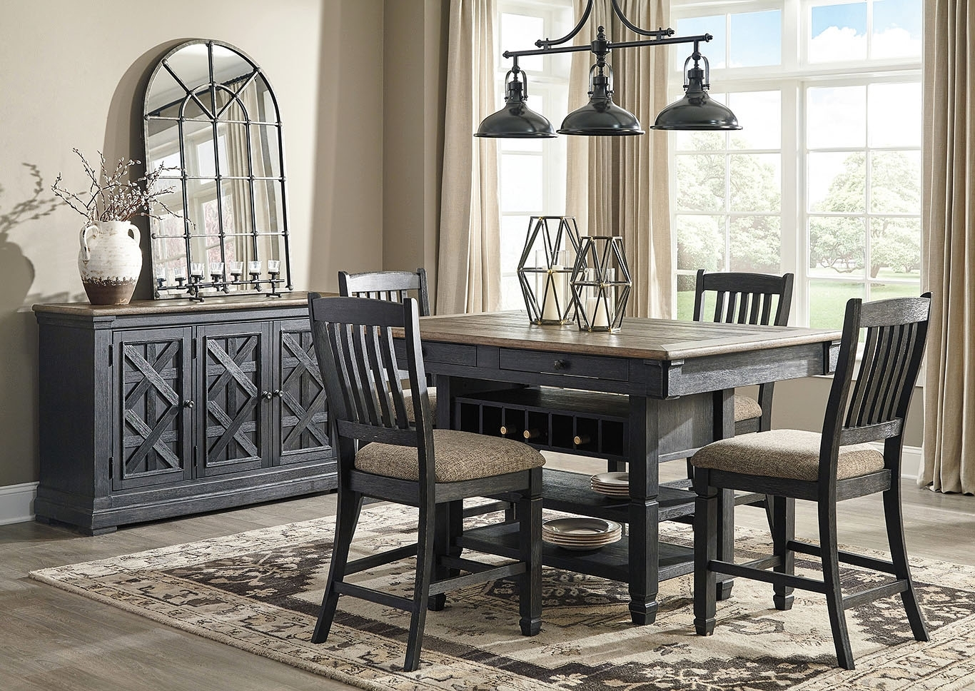 Furniture And More For Less Tyler Creek Black/grayish Brown 5 Piece With Regard To Most Popular Craftsman 5 Piece Round Dining Sets With Side Chairs (Photo 10 of 20)