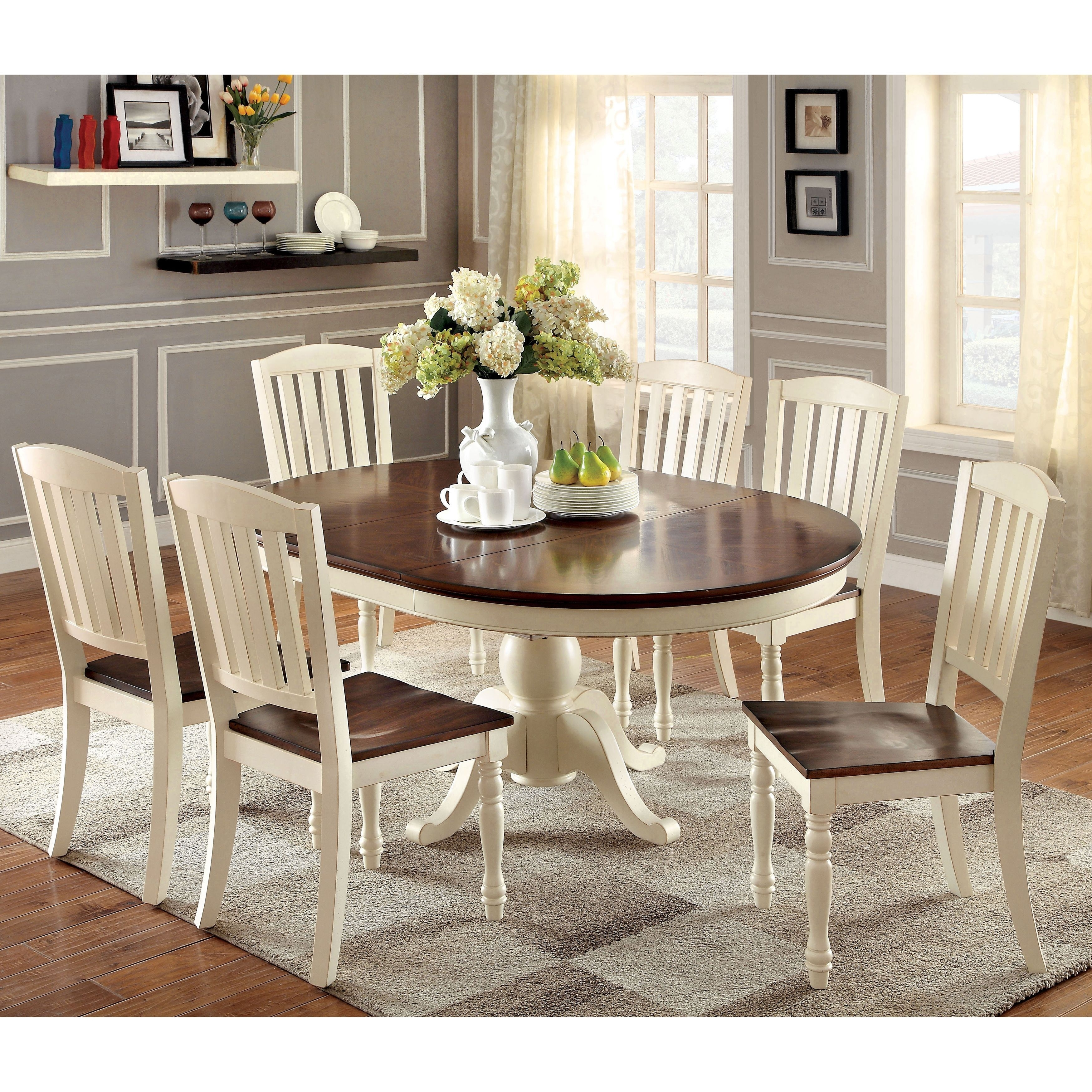 Furniture Of America Bethannie 7 Piece Cottage Style Oval Dining Set For Newest Laurent 7 Piece Rectangle Dining Sets With Wood Chairs (Image 12 of 20)