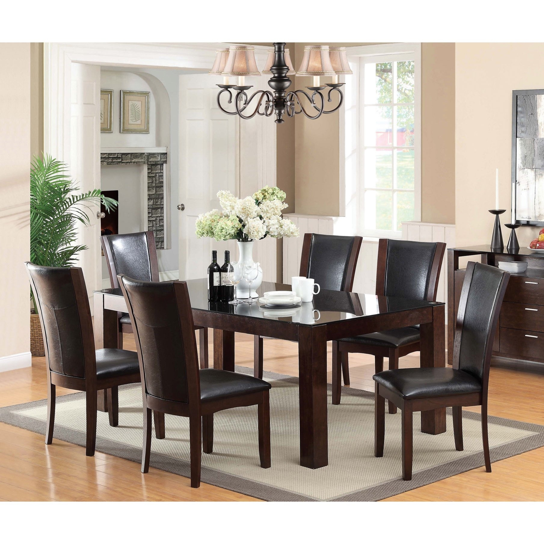 Furniture Of America Byzantia 7 Piece Tempered Glass Dining Set Throughout Most Recent Gavin 7 Piece Dining Sets With Clint Side Chairs (Image 3 of 20)