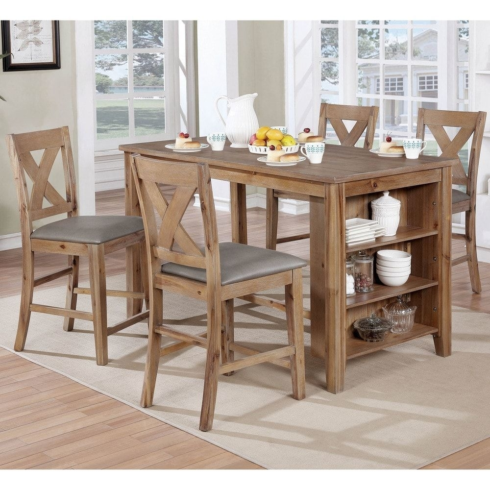 Furniture Of America Delrio Rustic 5 Piece Counter Height Table With Regard To 2018 Jameson Grey 5 Piece Counter Sets (Image 6 of 20)