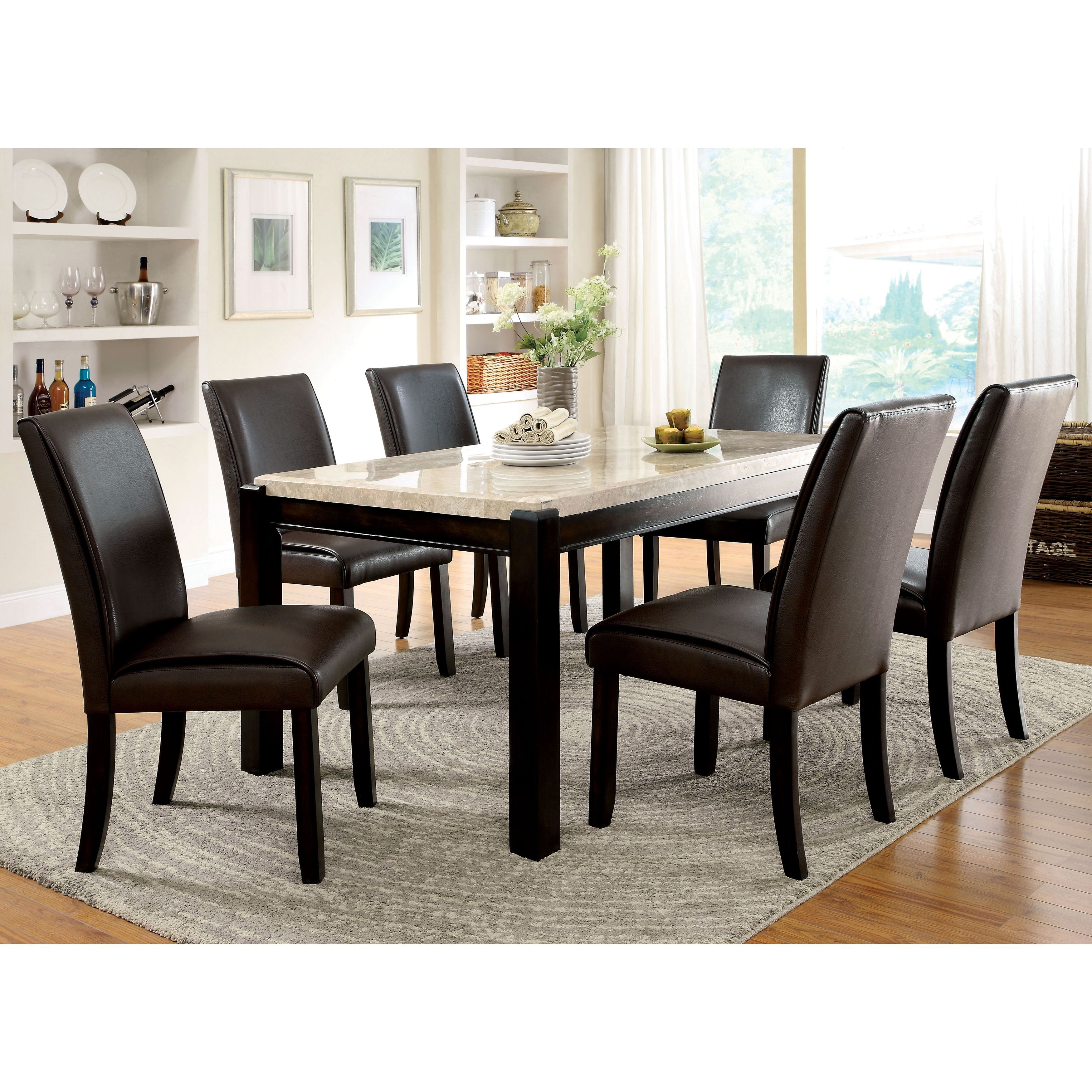 Furniture Of America Joreth 7 Piece Dark Walnut (Brown) Dining Set With Regard To Most Up To Date Palazzo 7 Piece Rectangle Dining Sets With Joss Side Chairs (View 4 of 20)