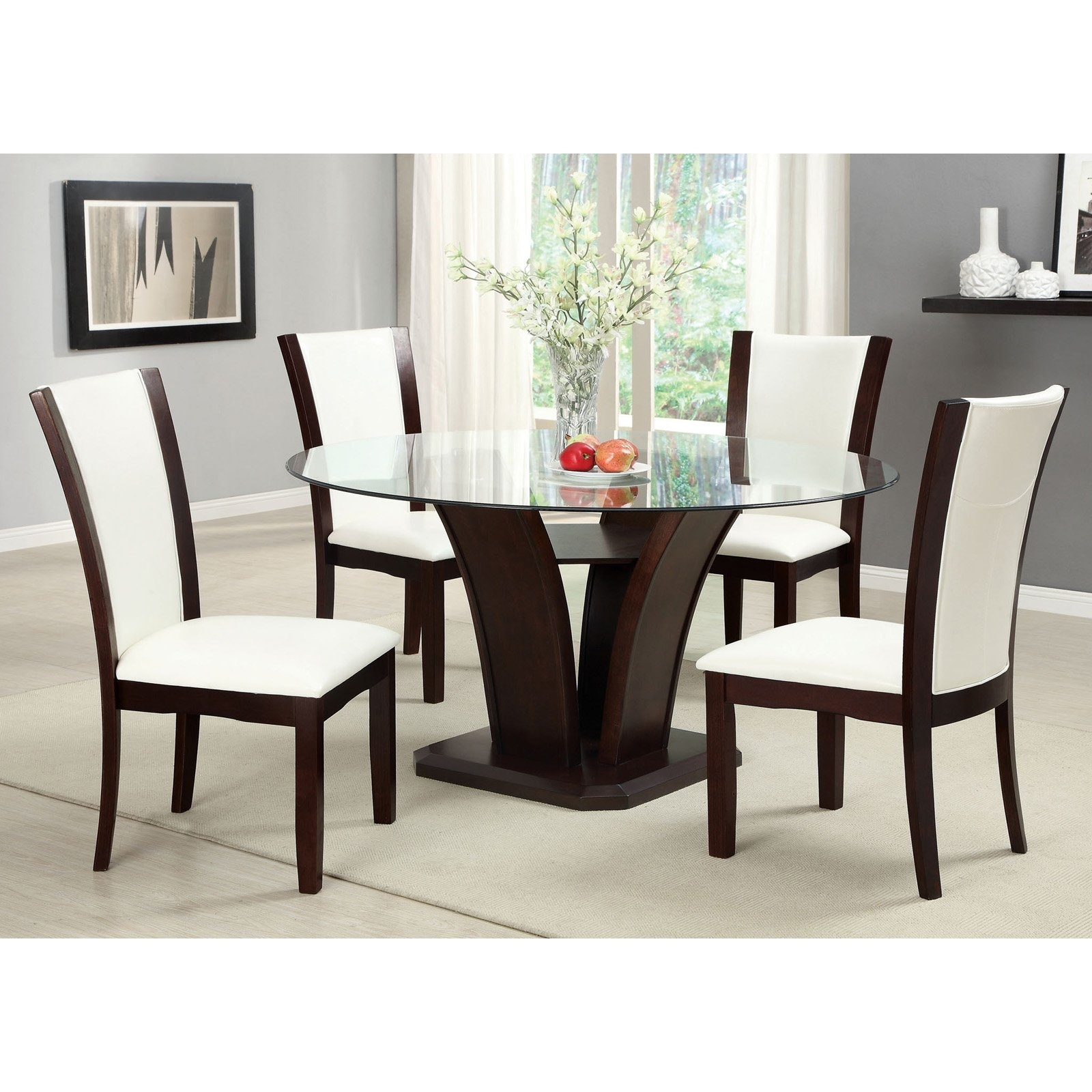 Furniture Of America Lavelle 5 Piece Glass Top Dining Set – Dark With Most Current Jensen 5 Piece Counter Sets (Image 5 of 20)