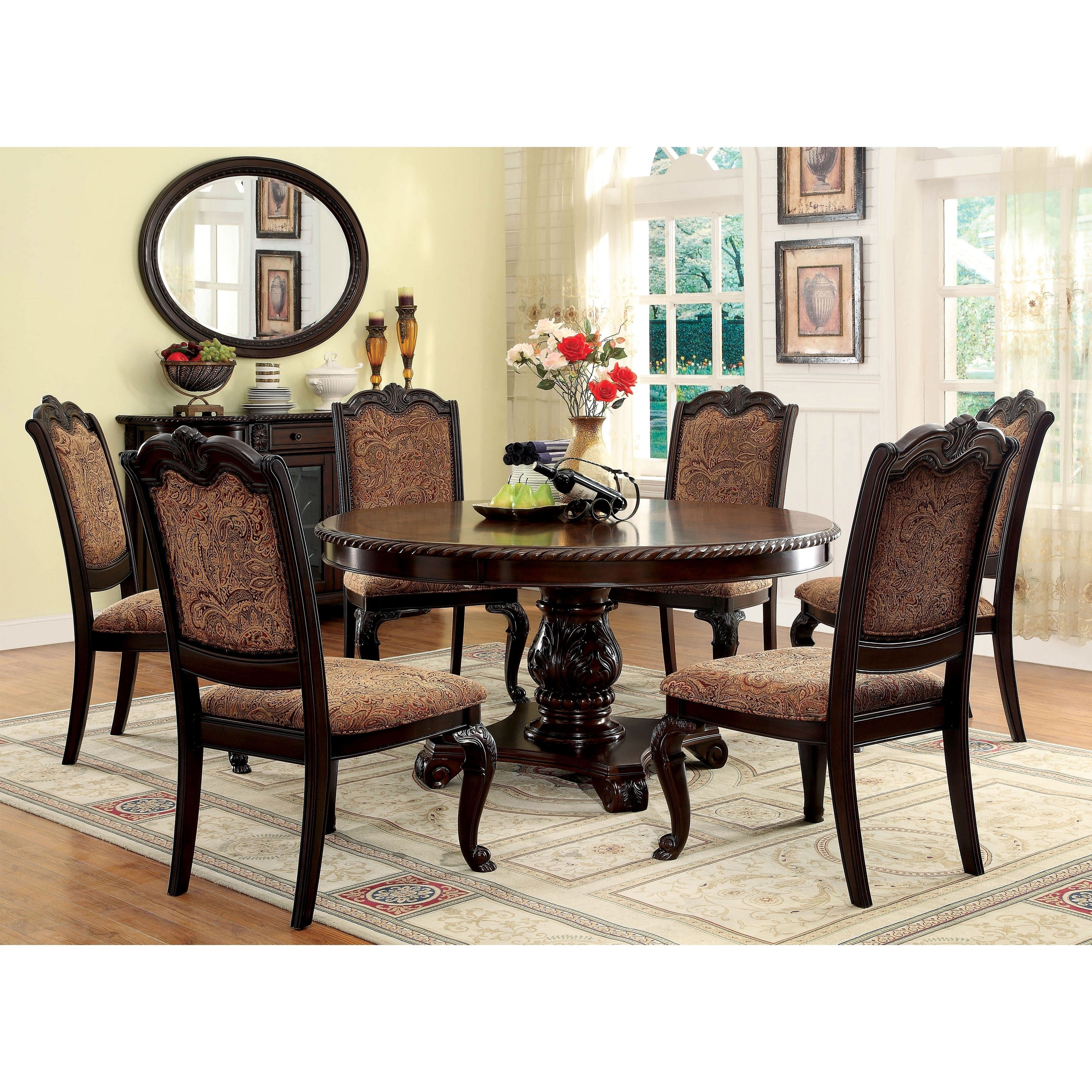 Furniture Of America Oskarre Iii Brown Cherry (Red) 7 Piece Formal For 2018 Valencia 5 Piece 60 Inch Round Dining Sets (View 19 of 20)