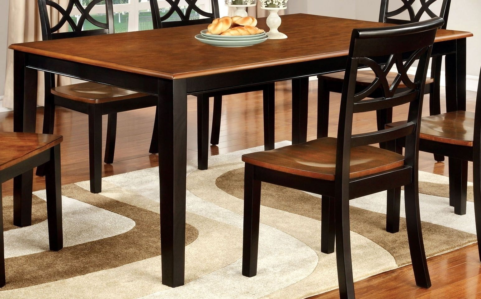 Furniture Of America Torrington Black And Cherry Rectangular In Most Popular Craftsman 7 Piece Rectangle Extension Dining Sets With Arm & Side Chairs (Image 6 of 20)