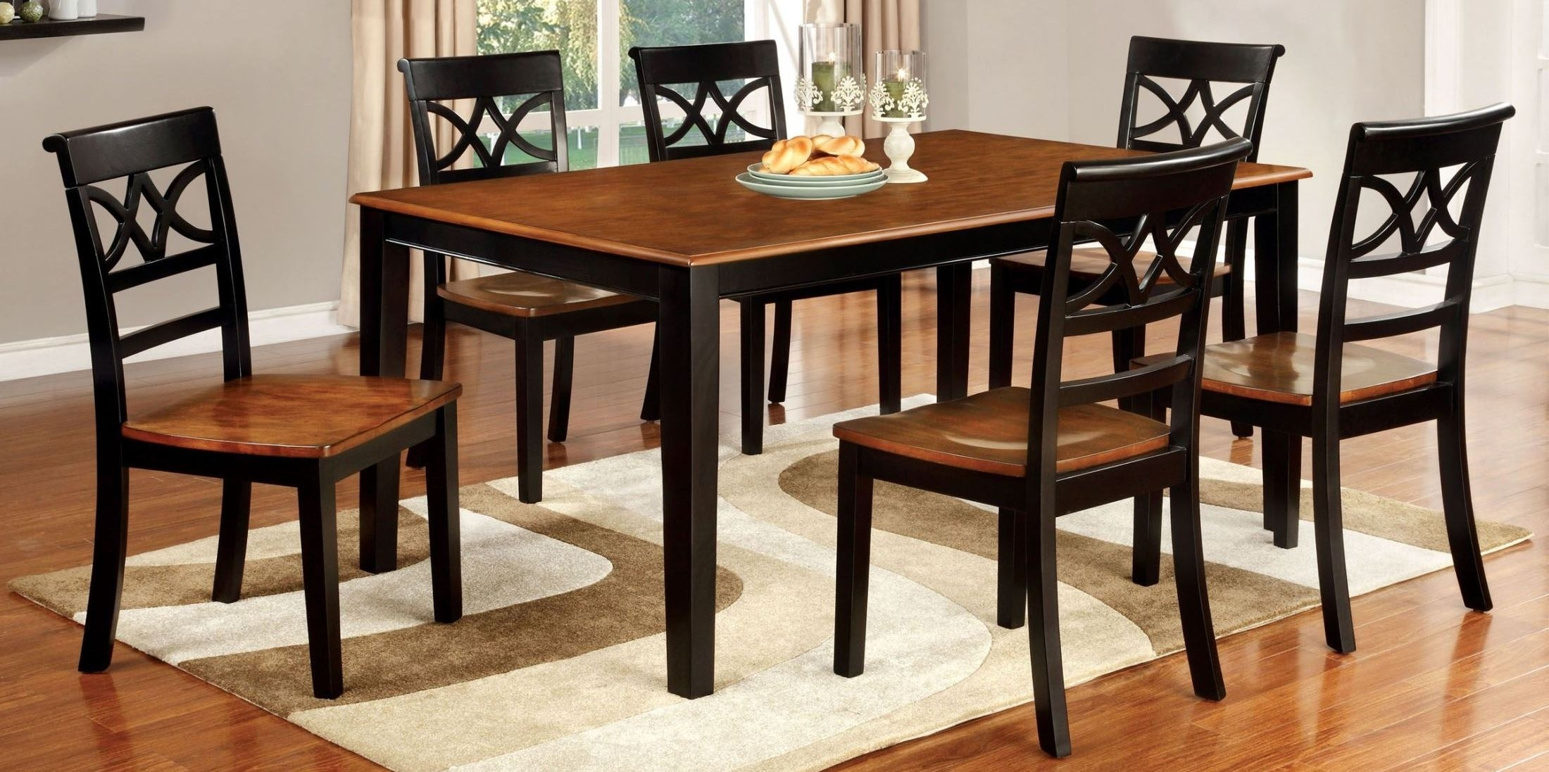 Furniture Of America Torrington Black And Cherry Rectangular Pertaining To Recent Craftsman 7 Piece Rectangle Extension Dining Sets With Arm & Side Chairs (Image 7 of 20)
