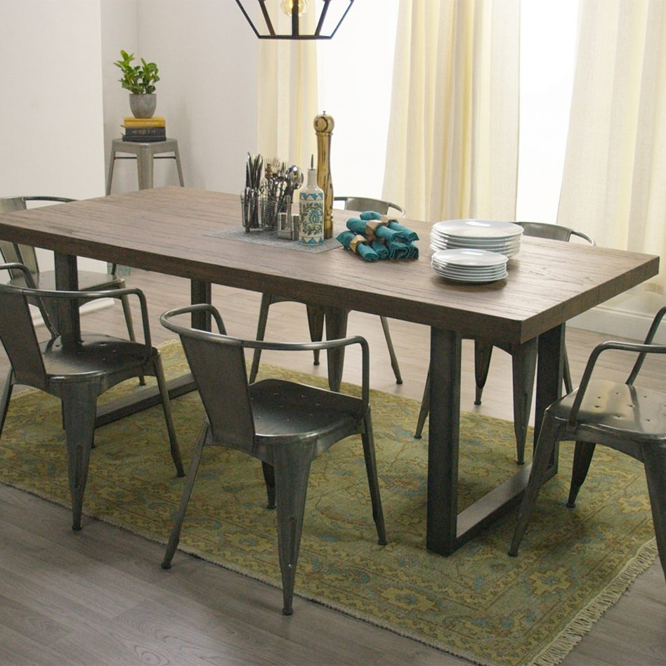 Furniture Retro Live Walnut Dining Table Metal Base Home Black With Most Up To Date Iron And Wood Dining Tables (View 20 of 20)
