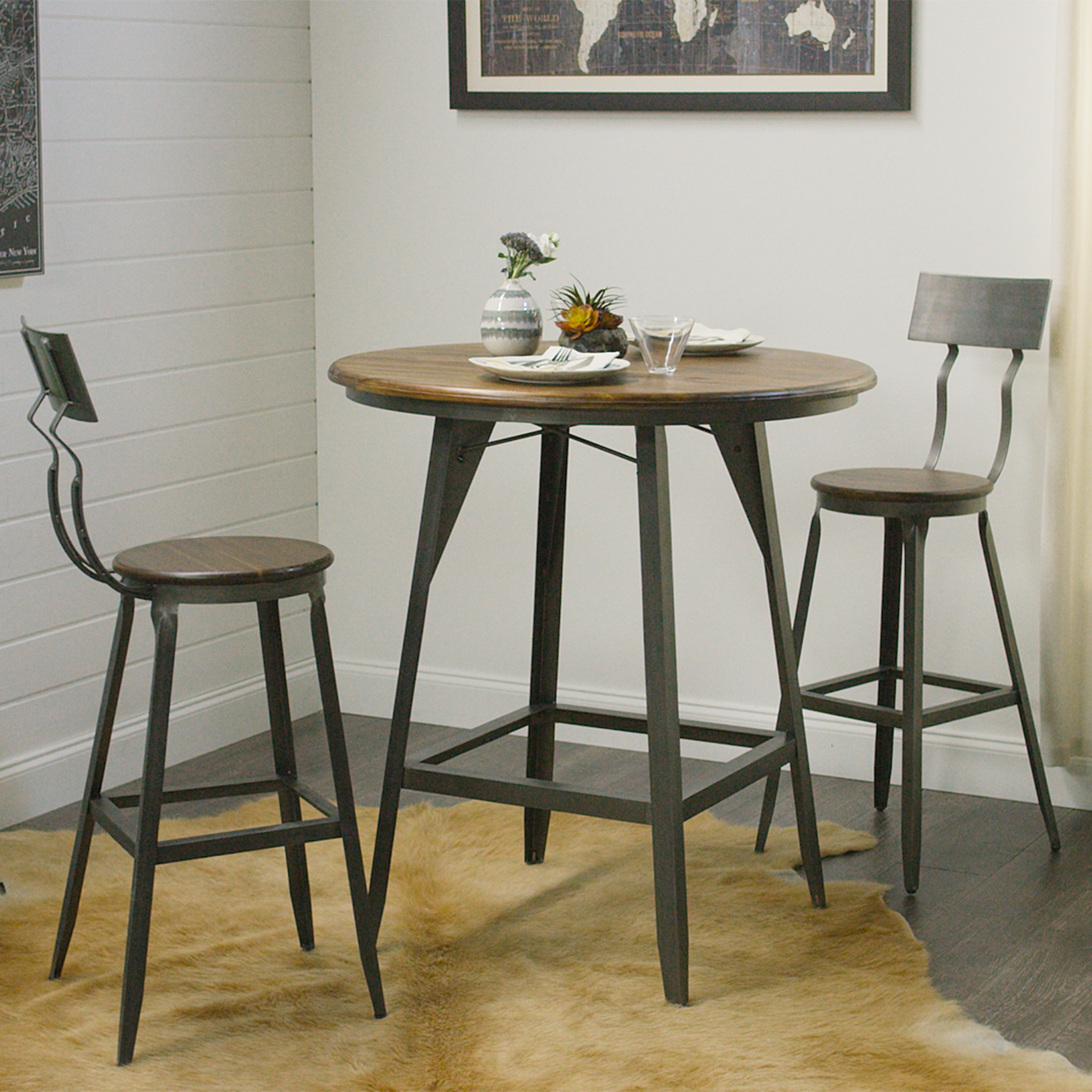 Furniture: World Market Bar Stools With Back Also Round Dining Table Within Recent Market 5 Piece Counter Sets (Image 12 of 20)