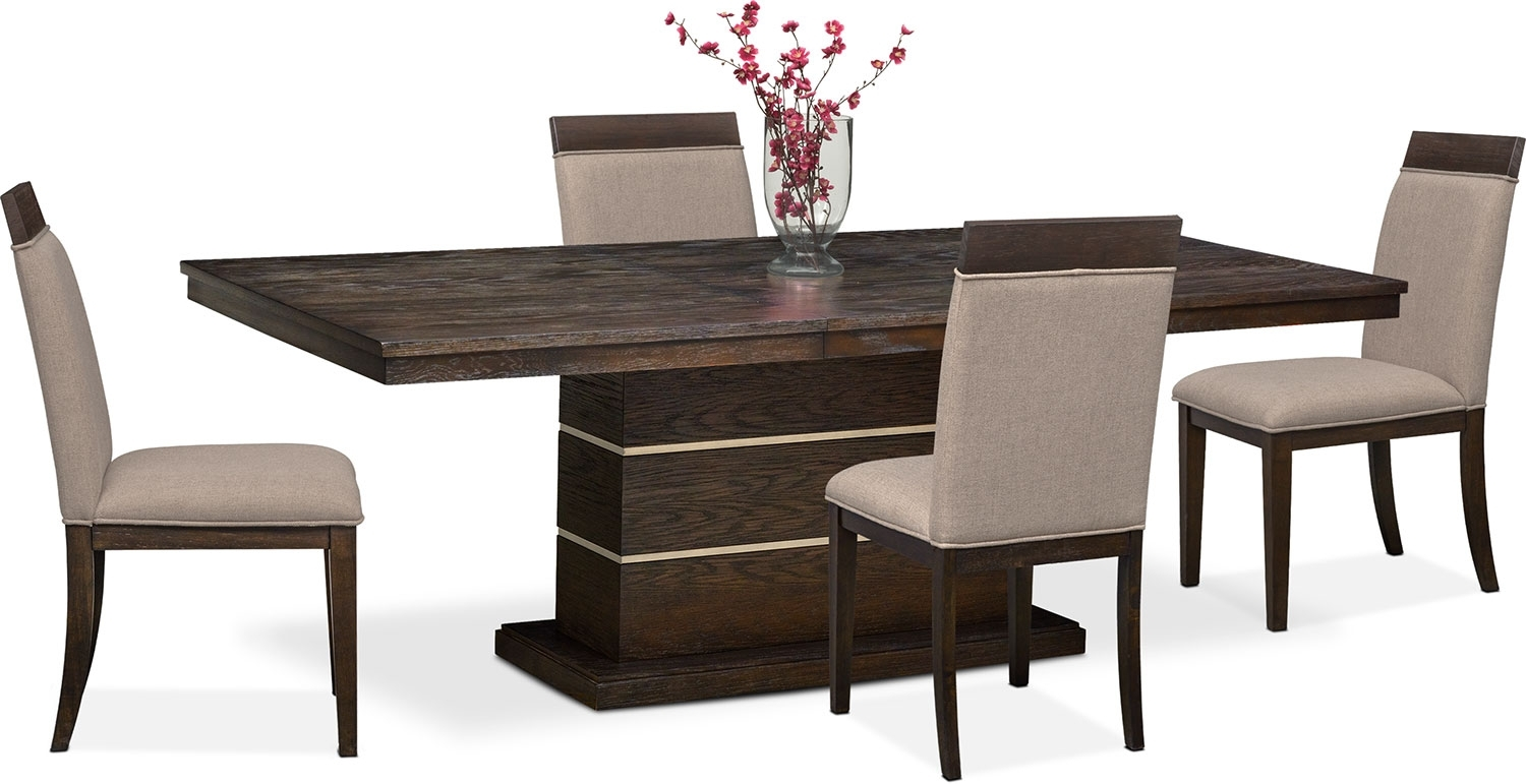 Gavin Pedestal Table And 4 Side Chairs – Brownstone | Value City With Regard To Current Gavin 6 Piece Dining Sets With Clint Side Chairs (Image 4 of 20)