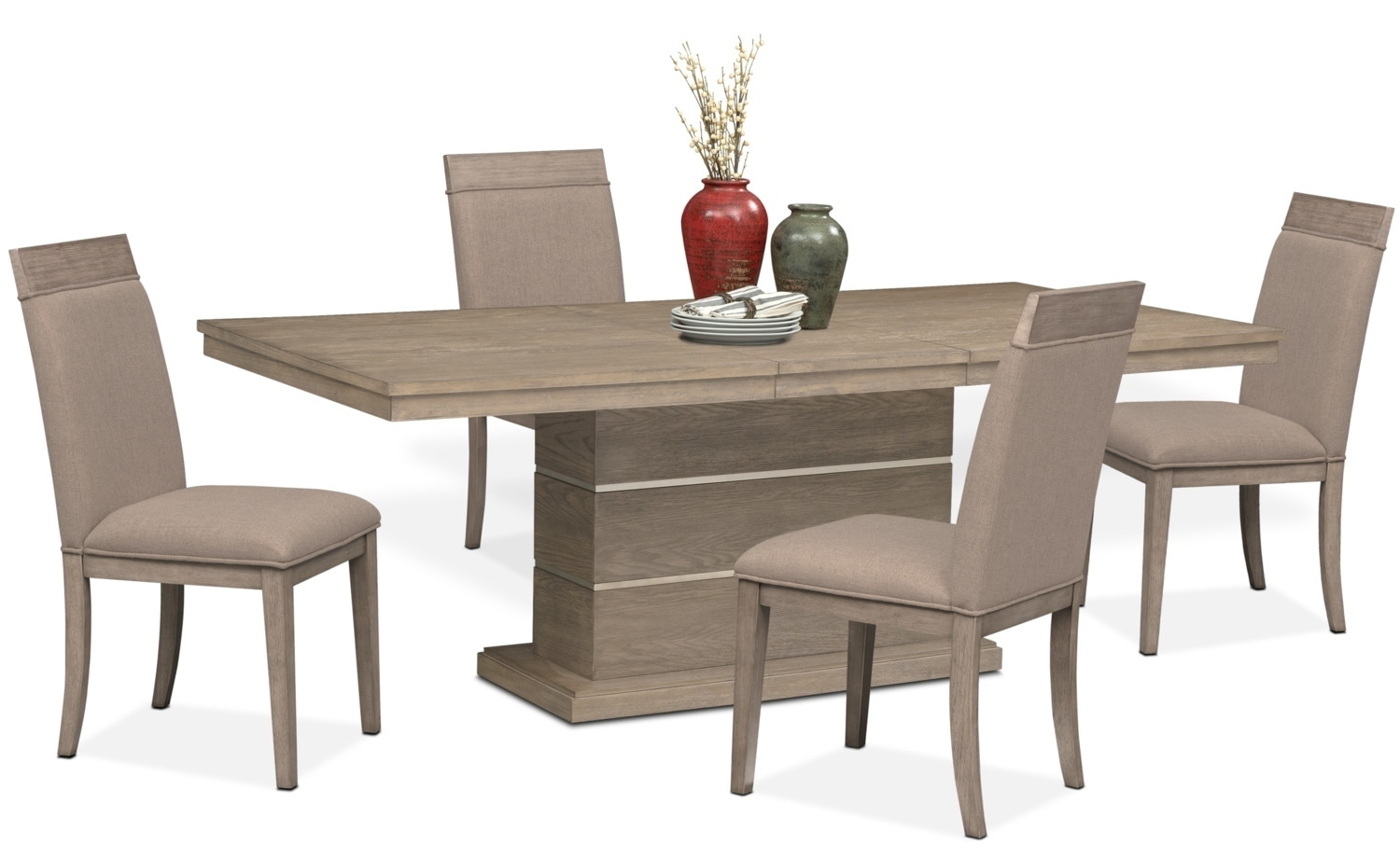Gavin Pedestal Table And 4 Side Chairs – Graystone | American With Regard To Most Popular Gavin 6 Piece Dining Sets With Clint Side Chairs (Image 5 of 20)