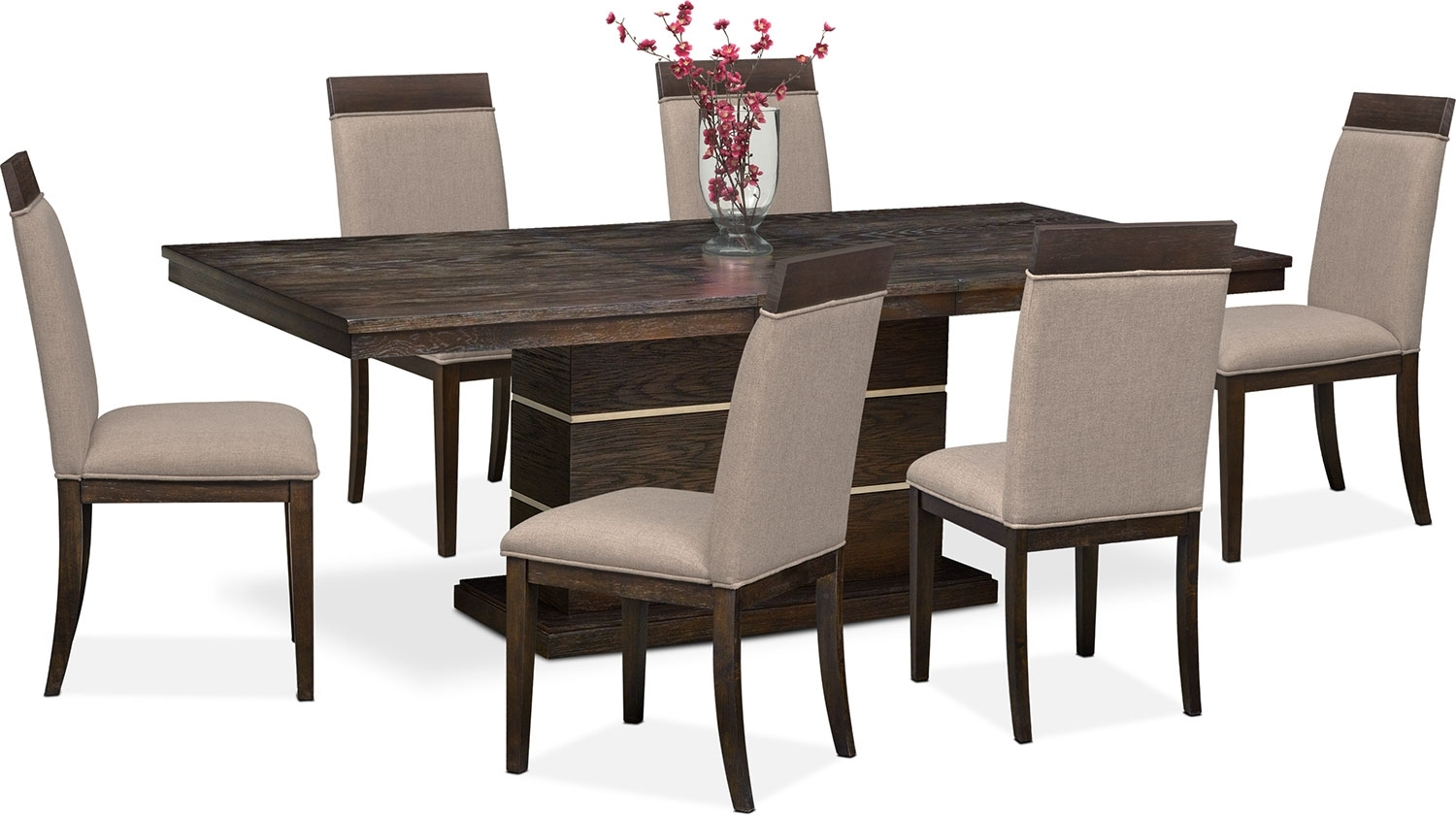 Gavin Pedestal Table And 6 Side Chairs – Brownstone | Value City With Regard To 2018 Gavin 7 Piece Dining Sets With Clint Side Chairs (Photo 8 of 20)
