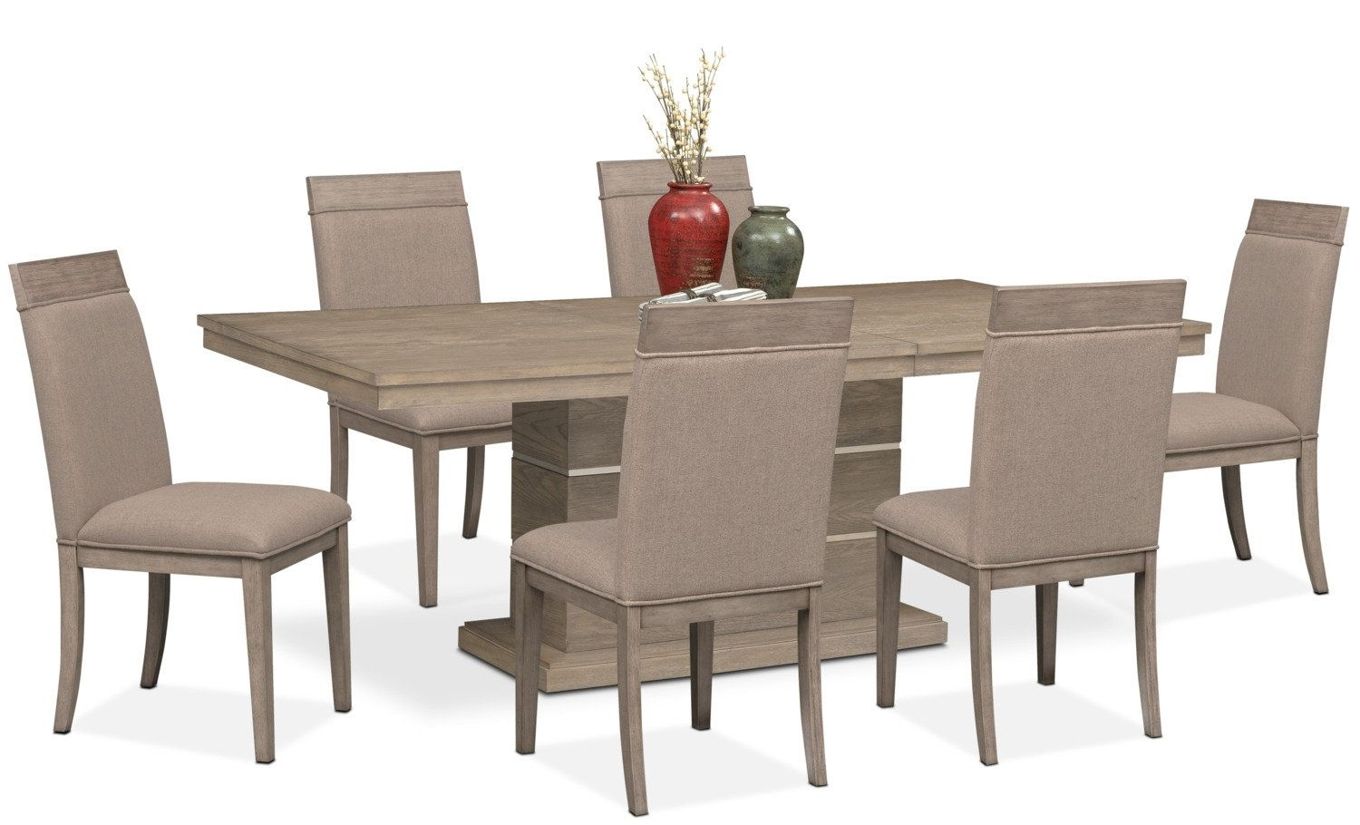 Gavin Pedestal Table And 6 Side Chairs – Graystone | Dining Room Pertaining To 2017 Gavin Dining Tables (Photo 10 of 20)