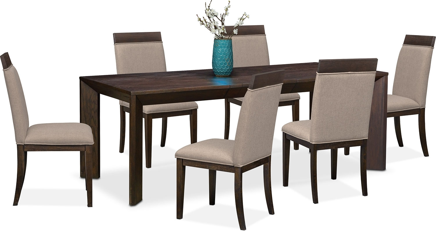 Gavin Table And 6 Side Chairs – Brownstone | American Signature Regarding Newest Gavin 7 Piece Dining Sets With Clint Side Chairs (Image 12 of 20)