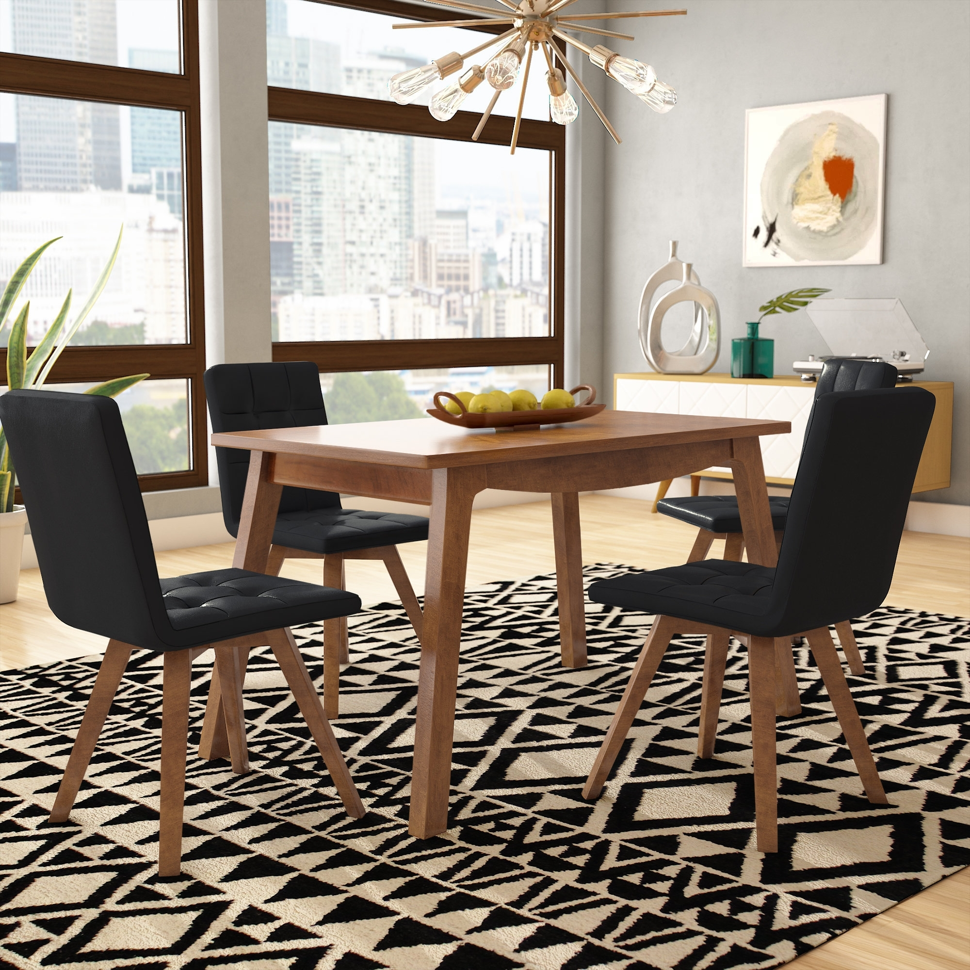 George Oliver Wyckhoff 5 Piece Dining Set & Reviews | Wayfair Throughout Most Current Laurent 7 Piece Rectangle Dining Sets With Wood And Host Chairs (Photo 19 of 20)