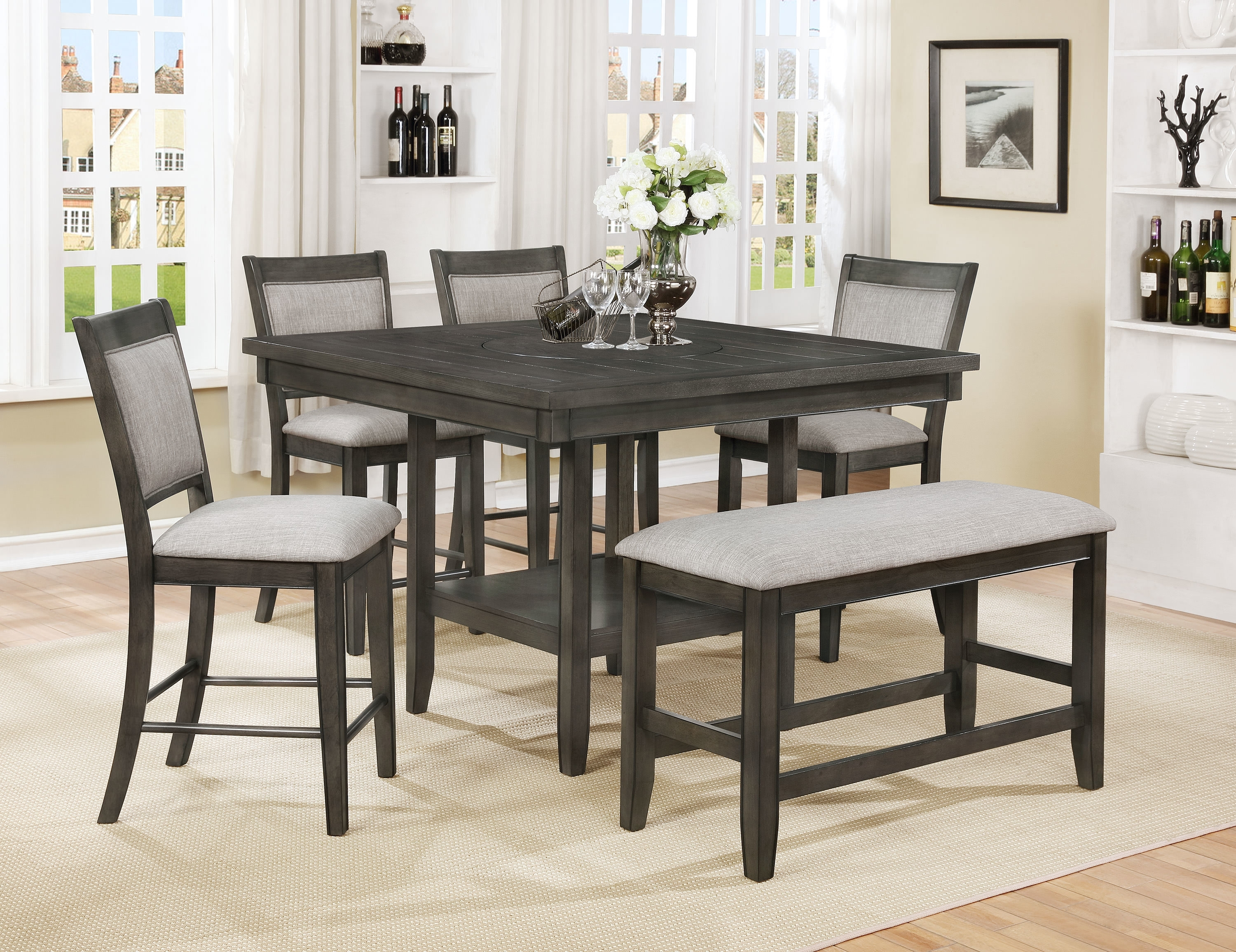Gracie Oaks Addie 6 Piece Counter Height Dining Set | Wayfair For Most Recently Released Parquet 7 Piece Dining Sets (View 14 of 20)