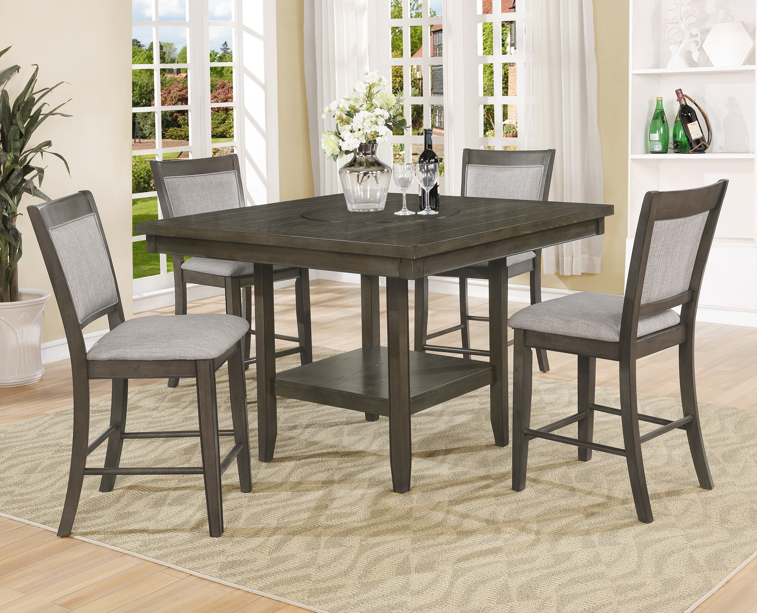 Gracie Oaks Briella 5 Piece Counter Height Dining Set | Wayfair With Most Popular Parquet 7 Piece Dining Sets (Photo 16 of 20)