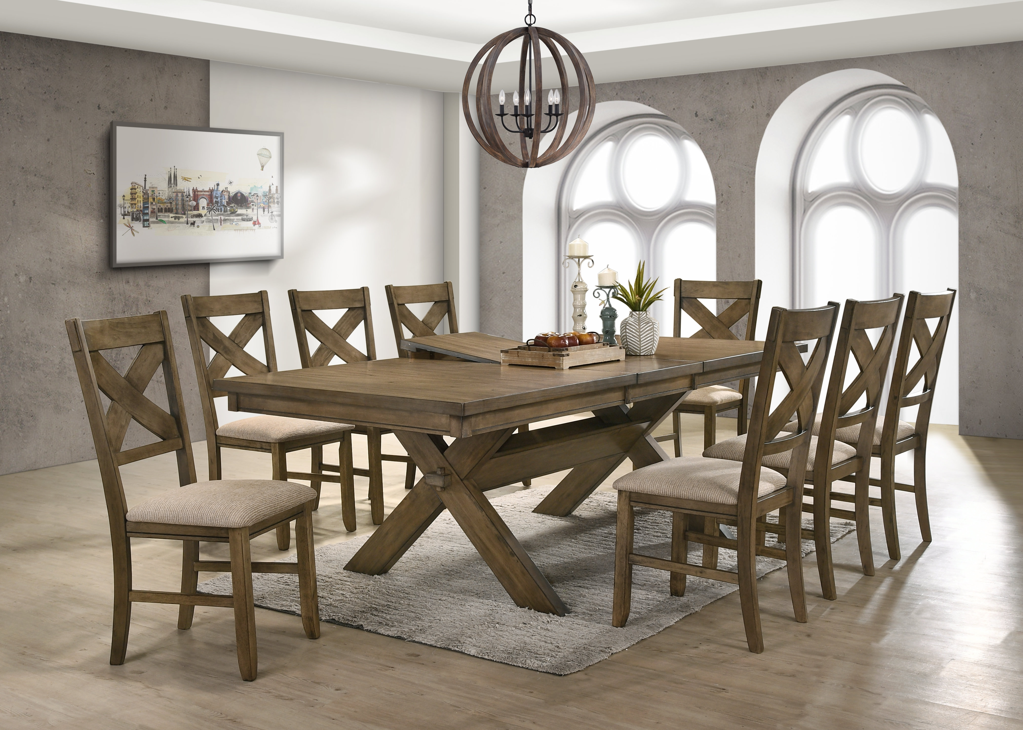 Gracie Oaks Poe 9 Piece Extendable Dining Set | Wayfair Throughout Most Recent Chandler 7 Piece Extension Dining Sets With Fabric Side Chairs (View 14 of 20)