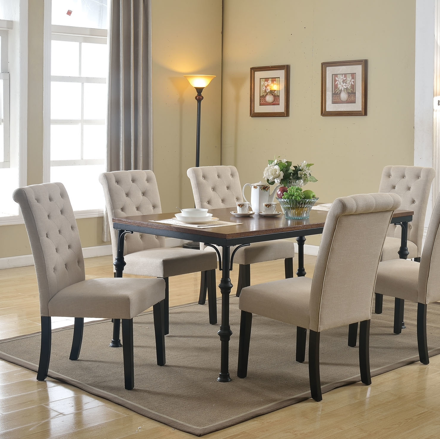 Gracie Oaks Tyerell 7 Piece Dining Set | Wayfair Throughout Latest Caira Black 5 Piece Round Dining Sets With Upholstered Side Chairs (Image 12 of 20)