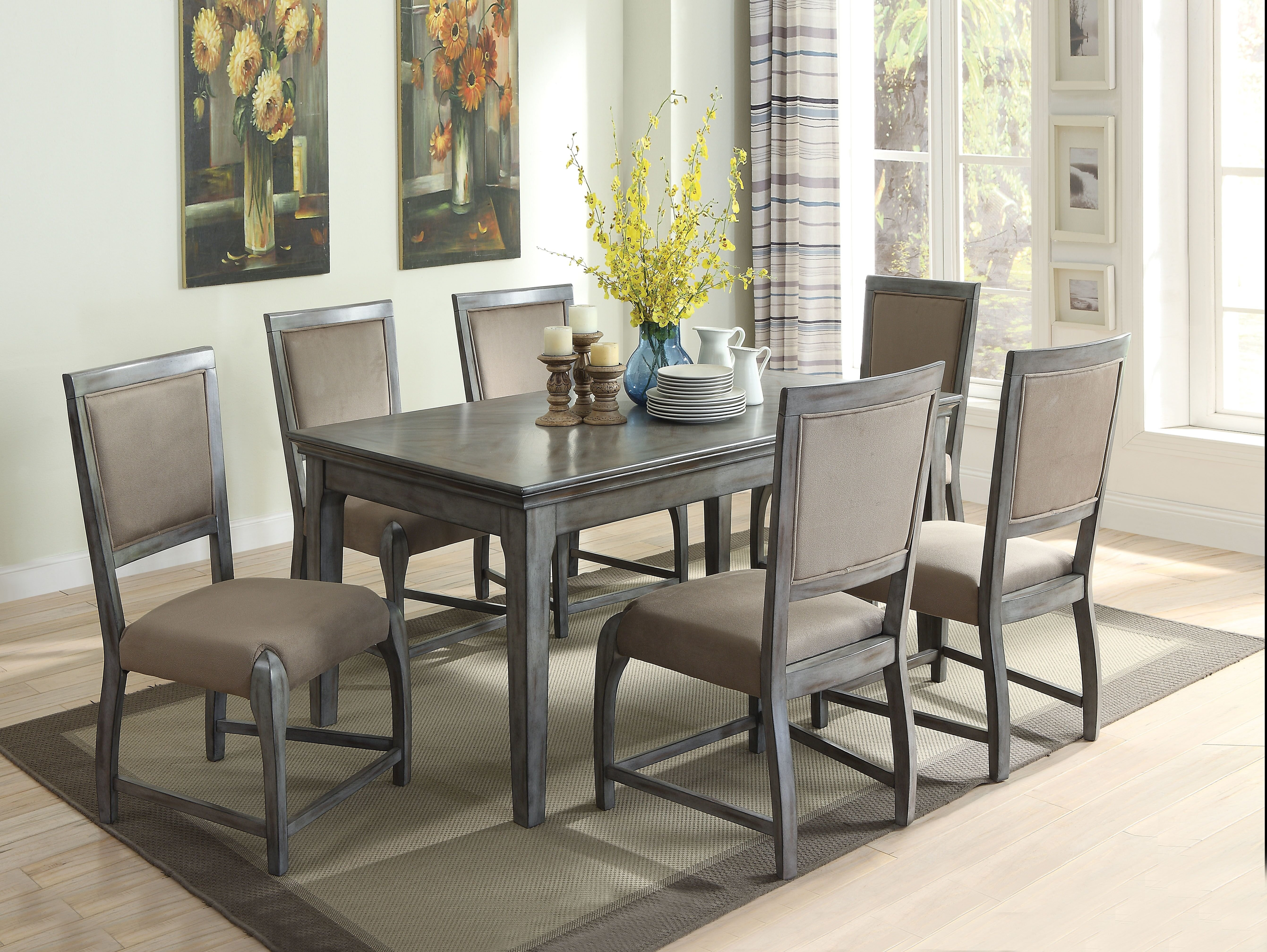 Gracie Oaks Vincenza 7 Piece Dining Set | Wayfair With Regard To Current Walden 7 Piece Extension Dining Sets (Image 3 of 20)