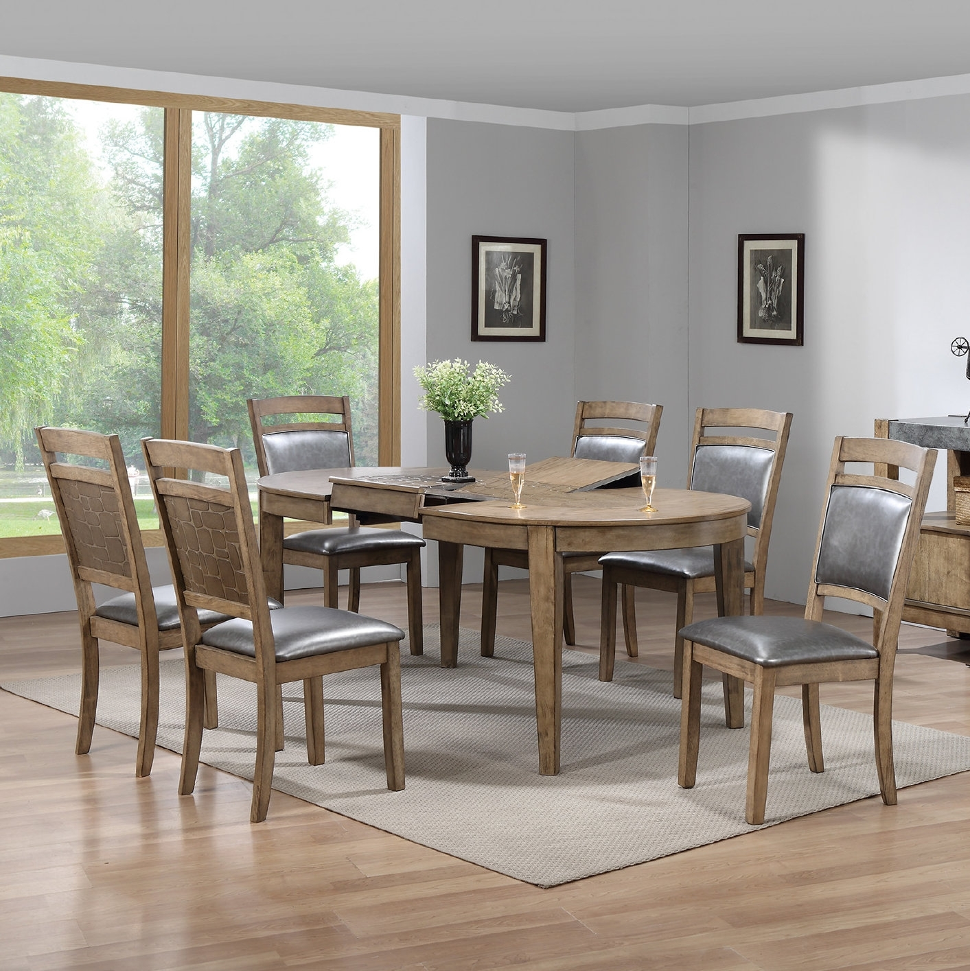 Gracie Oaks Warthen 7 Piece Dining Set | Wayfair Inside Recent Caira Black 7 Piece Dining Sets With Upholstered Side Chairs (Image 10 of 20)