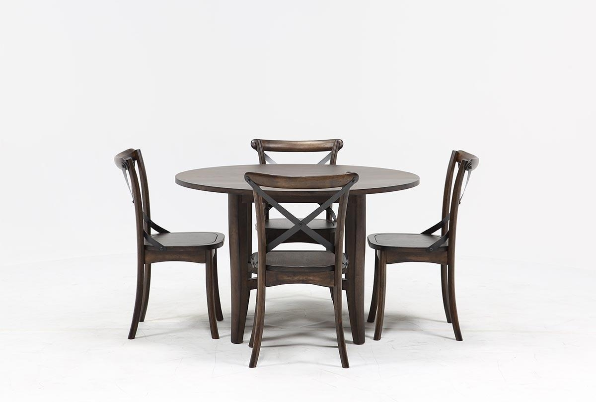 Grady 5 Piece Round Dining Set | Living Spaces In Most Up To Date Combs 5 Piece Dining Sets With  Mindy Slipcovered Chairs (Photo 5 of 20)