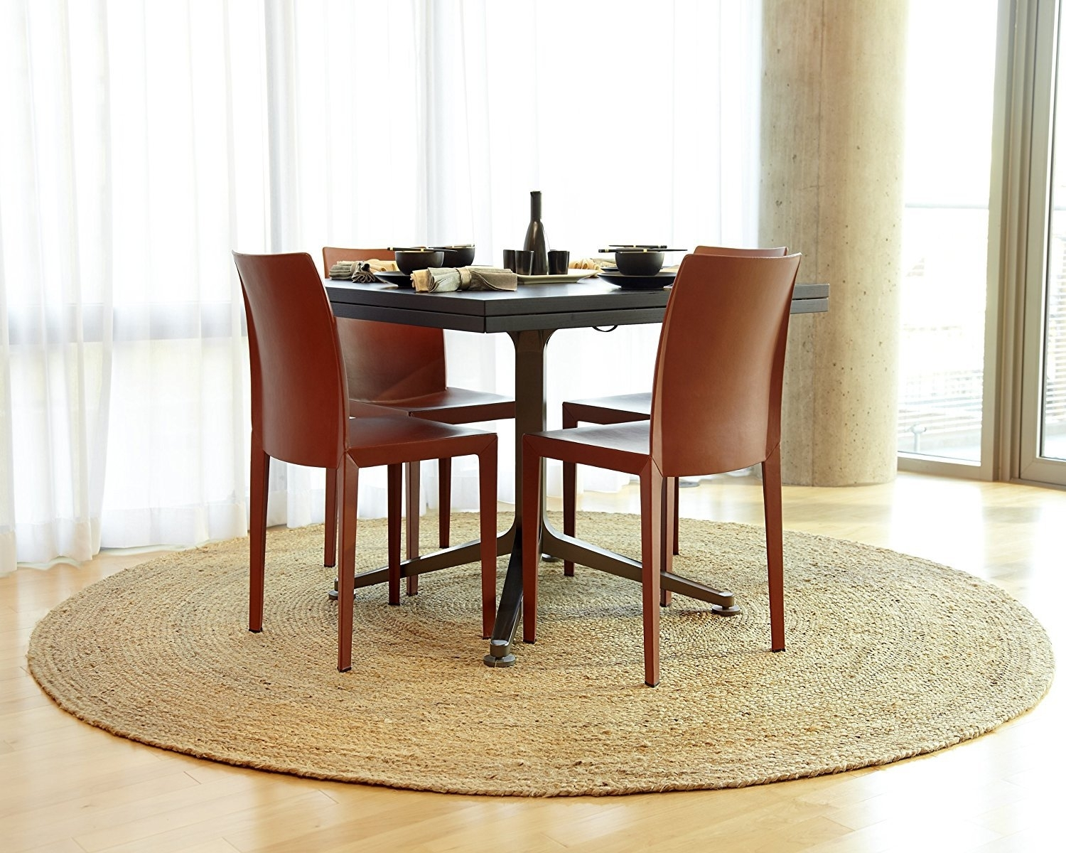 Gray Decor Round Seagrass Rug Room Design Casual Motif Seagrass Rug With Most Up To Date Caden Round Dining Tables (Image 12 of 20)