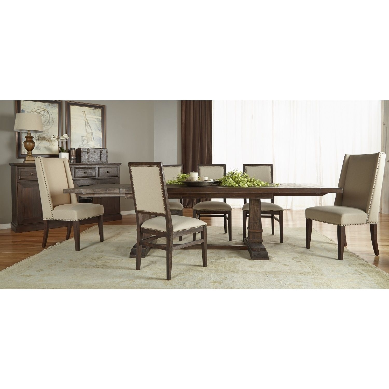 Gray Manor Harlan Rustic Java Double Pedestal Extension Dining Table Throughout Most Recently Released Chandler 7 Piece Extension Dining Sets With Fabric Side Chairs (View 9 of 20)