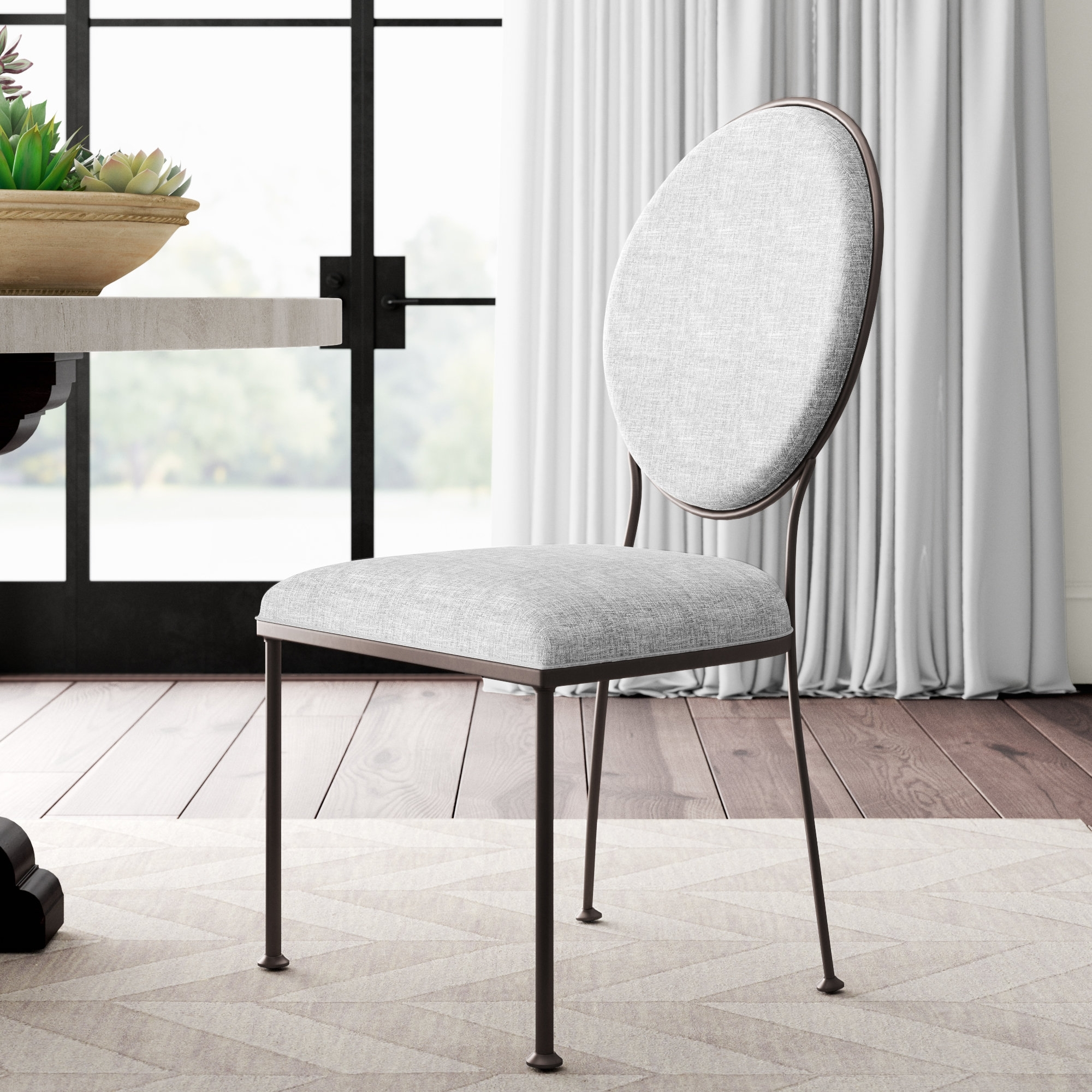 Greyleigh Cairo Oval Back Upholstered Dining Chair | Wayfair With Most Recently Released Caira Black 5 Piece Round Dining Sets With Upholstered Side Chairs (Photo 10 of 20)