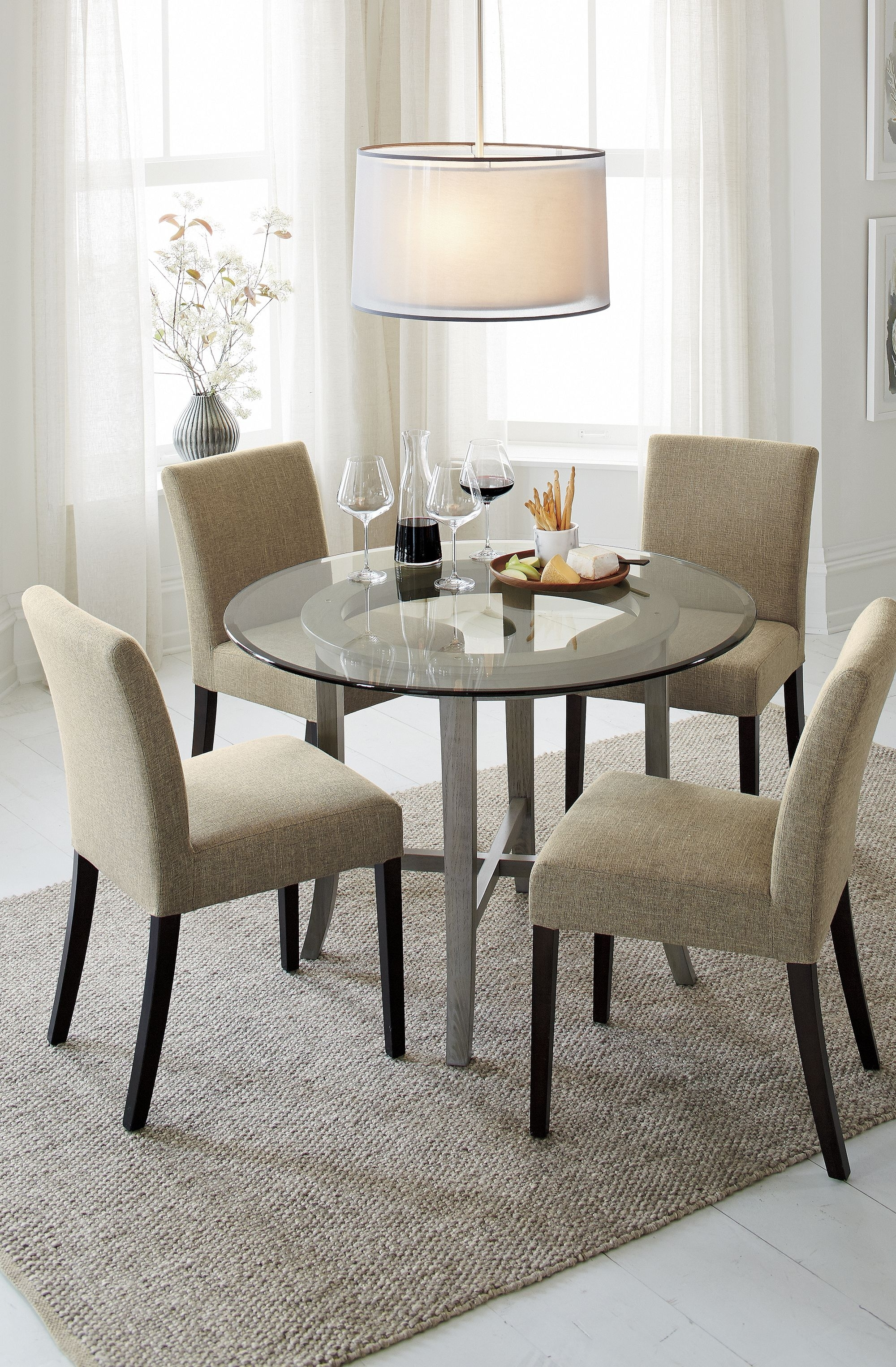 """Halo Grey Round Dining Table With 42"""" Glass Top 