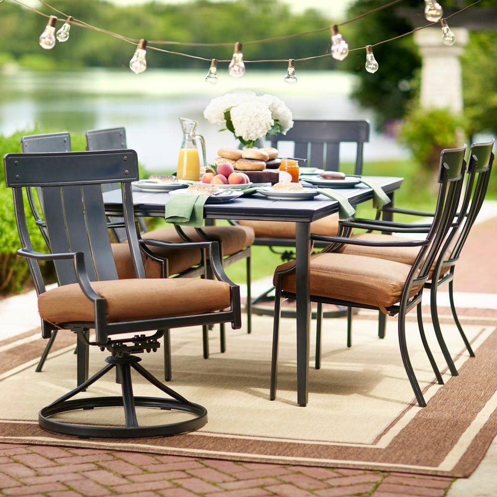 Hampton Bay Oak Heights 7 Piece Metal Outdoor Patio Dining Set With In Recent Carly 3 Piece Triangle Dining Sets (View 9 of 20)