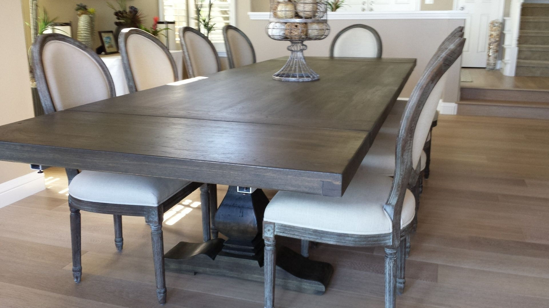 Hand Made Pecan Trestle Dining Tablesantini Custom Furniture With Current Craftsman Rectangle Extension Dining Tables (Image 14 of 20)