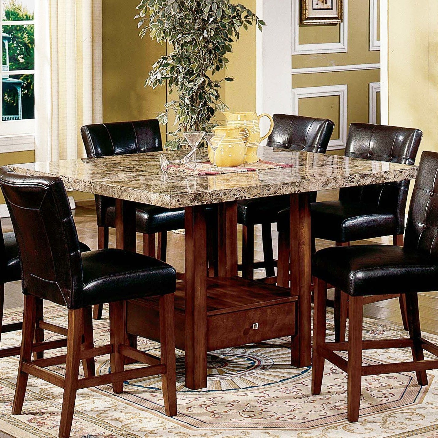 Have To Have It. Steve Silver Montibello Marble Top Counter Height Pertaining To Most Current Palazzo 7 Piece Dining Sets With Pearson White Side Chairs (Photo 13 of 20)