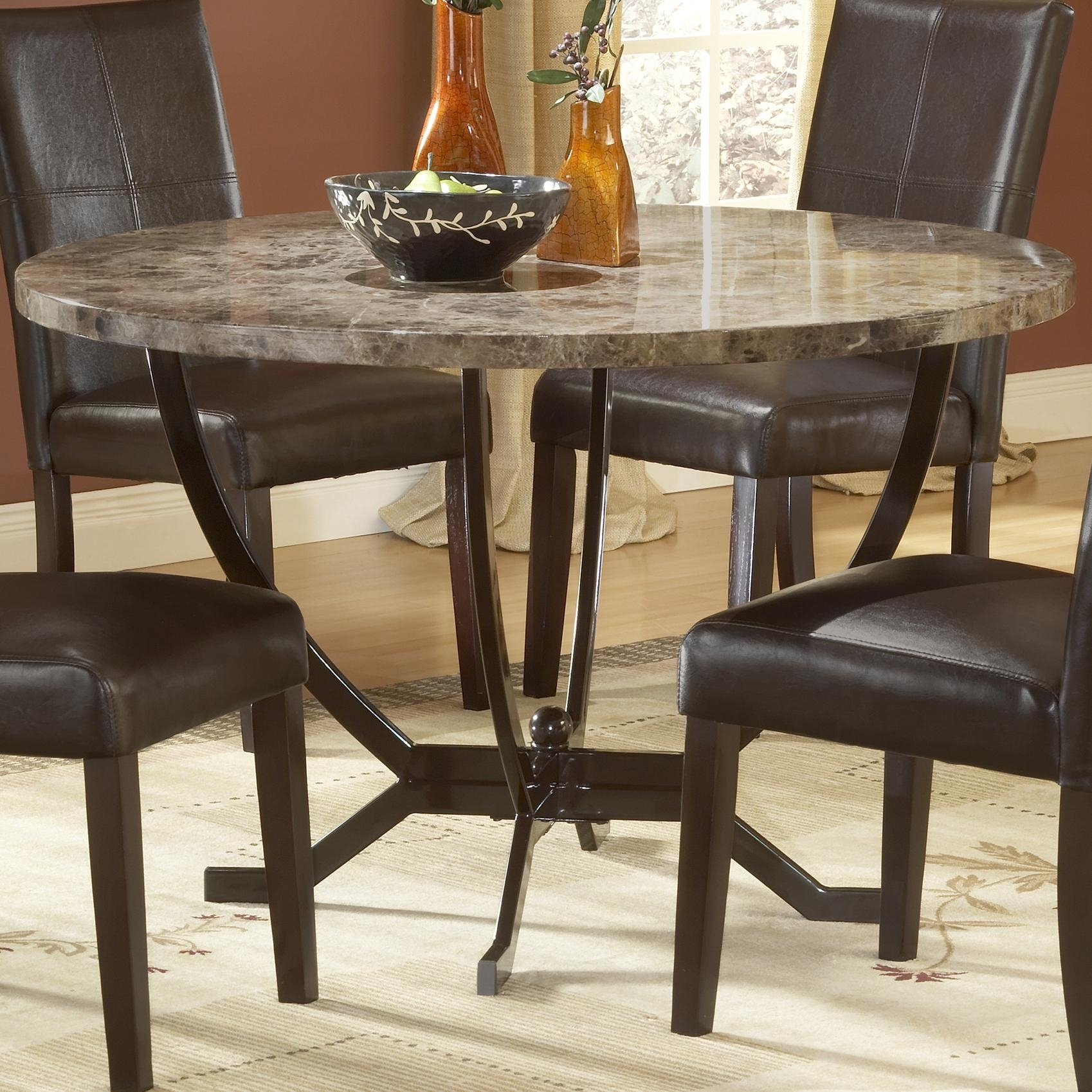 Hillsdale Monaco Round Dining Table | Lindy's Furniture Company With Regard To Most Recently Released Lindy Espresso Rectangle Dining Tables (Image 7 of 20)