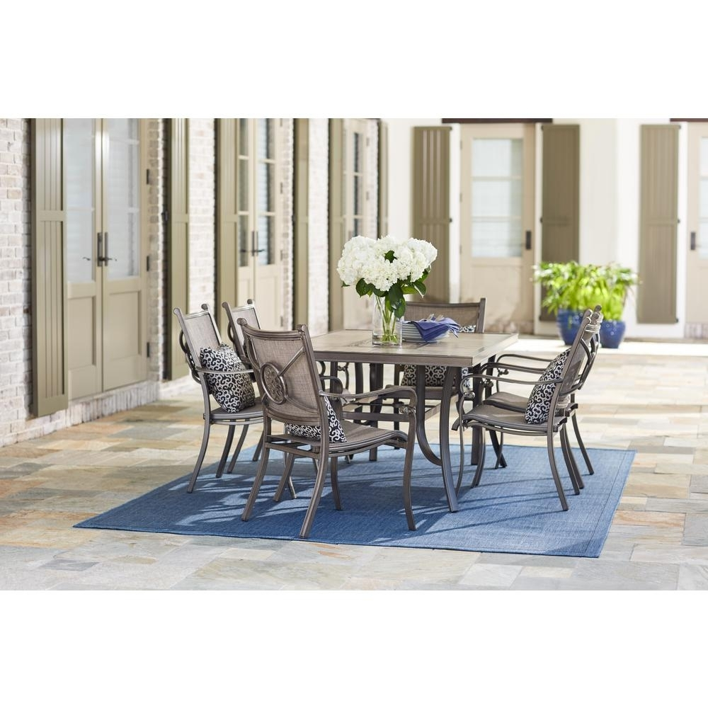 Home Decorators Collection Wilshire Estates 7 Piece Aluminum Pertaining To Most Popular Candice Ii 5 Piece Round Dining Sets (Image 12 of 20)