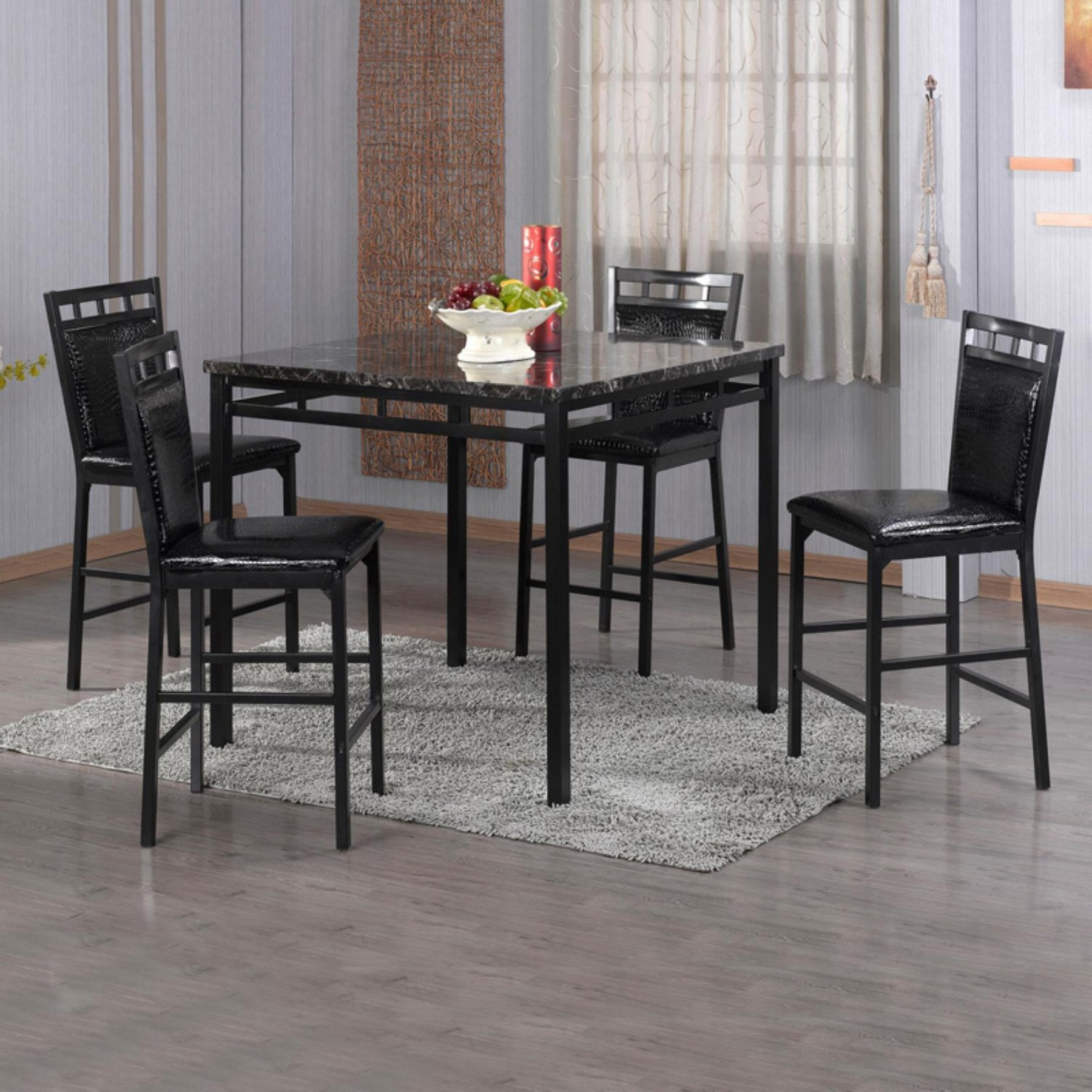Home Source Industries 5 Piece Counter Height Dining Table Set In Within Most Recently Released Valencia 3 Piece Counter Sets With Bench (Image 7 of 20)