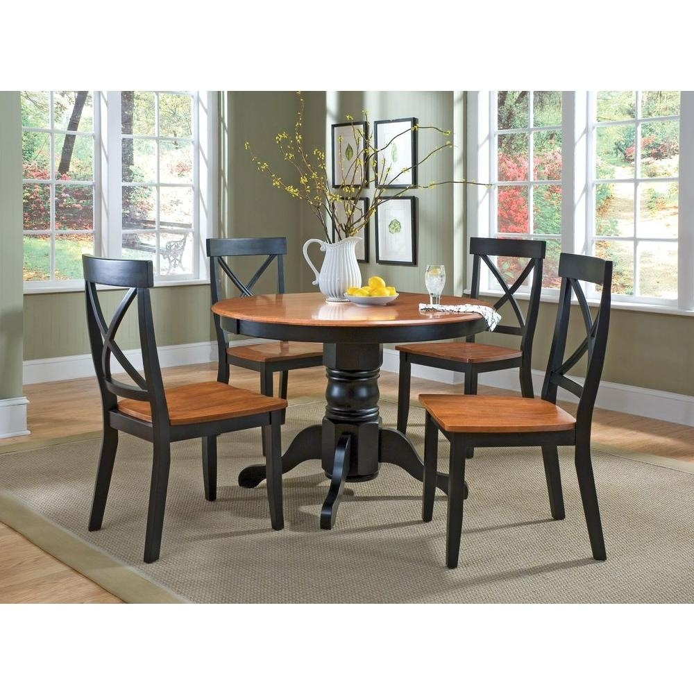 Home Styles 5 Piece Black And Oak Dining Set 5168 318 – The Home Depot For Most Popular Laurent 5 Piece Round Dining Sets With Wood Chairs (Photo 3 of 20)