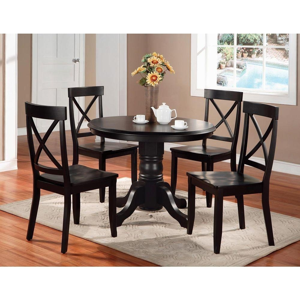 Home Styles 5 Piece Black Dining Set 5178 318 – The Home Depot For Best And Newest Laurent 5 Piece Round Dining Sets With Wood Chairs (View 2 of 20)