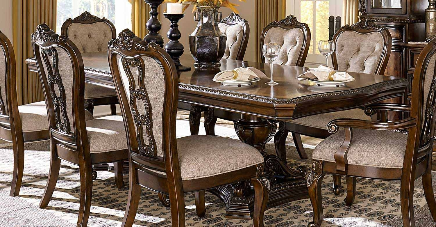 Homelegance Bonaventure Park Double Pedestal Dining Table – Gold With Most Recently Released Bale Rustic Grey Dining Tables (Image 12 of 20)