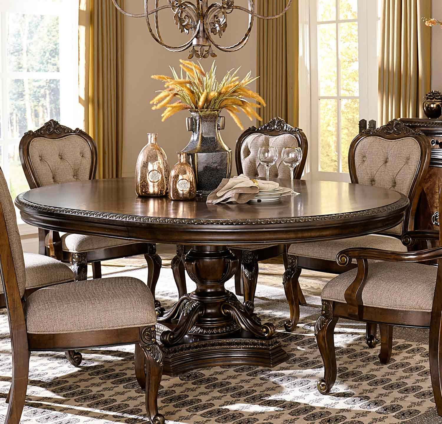 Homelegance Bonaventure Park Round / Oval Pedestal Dining Table With For Most Recent Bale Rustic Grey Dining Tables (Image 13 of 20)