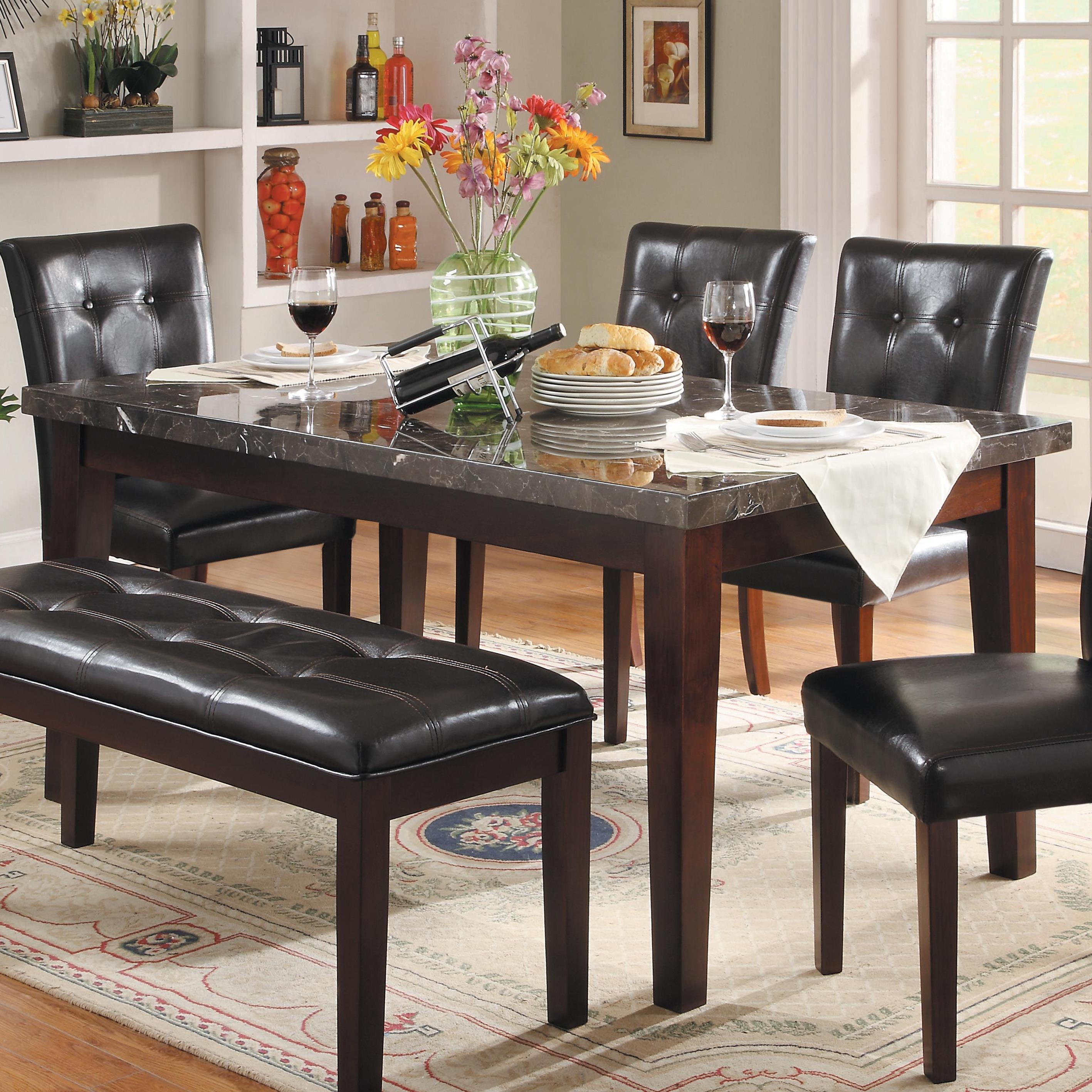 Homelegance Decatur Dining Table With Marble Top | Lindy's Furniture Regarding Most Recent Lindy Espresso Rectangle Dining Tables (Image 8 of 20)