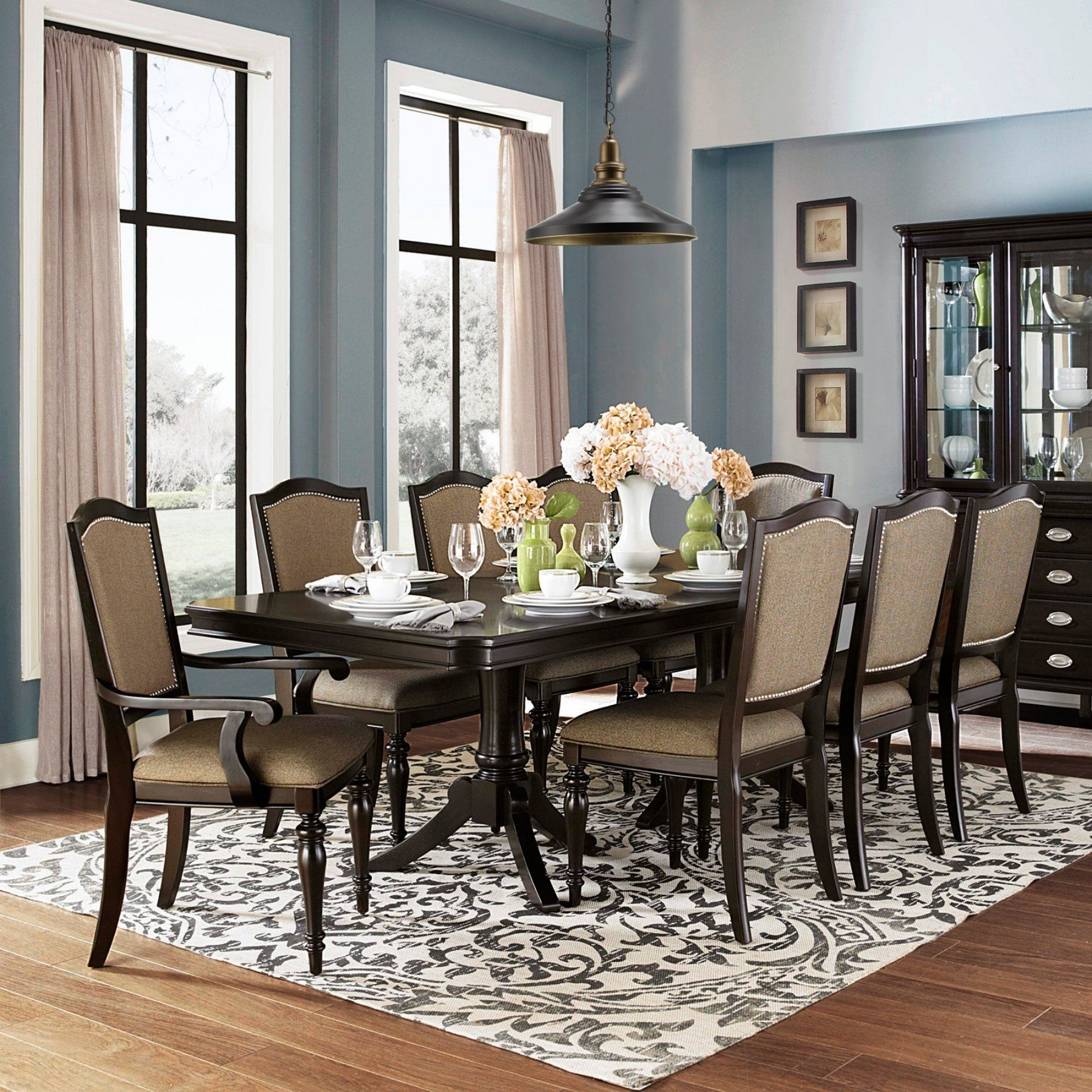 Homelegance Marston 9 Piece Extendable Dining Set – 2615Dc 96[9Pc Within Most Current Craftsman 9 Piece Extension Dining Sets With Uph Side Chairs (View 2 of 20)