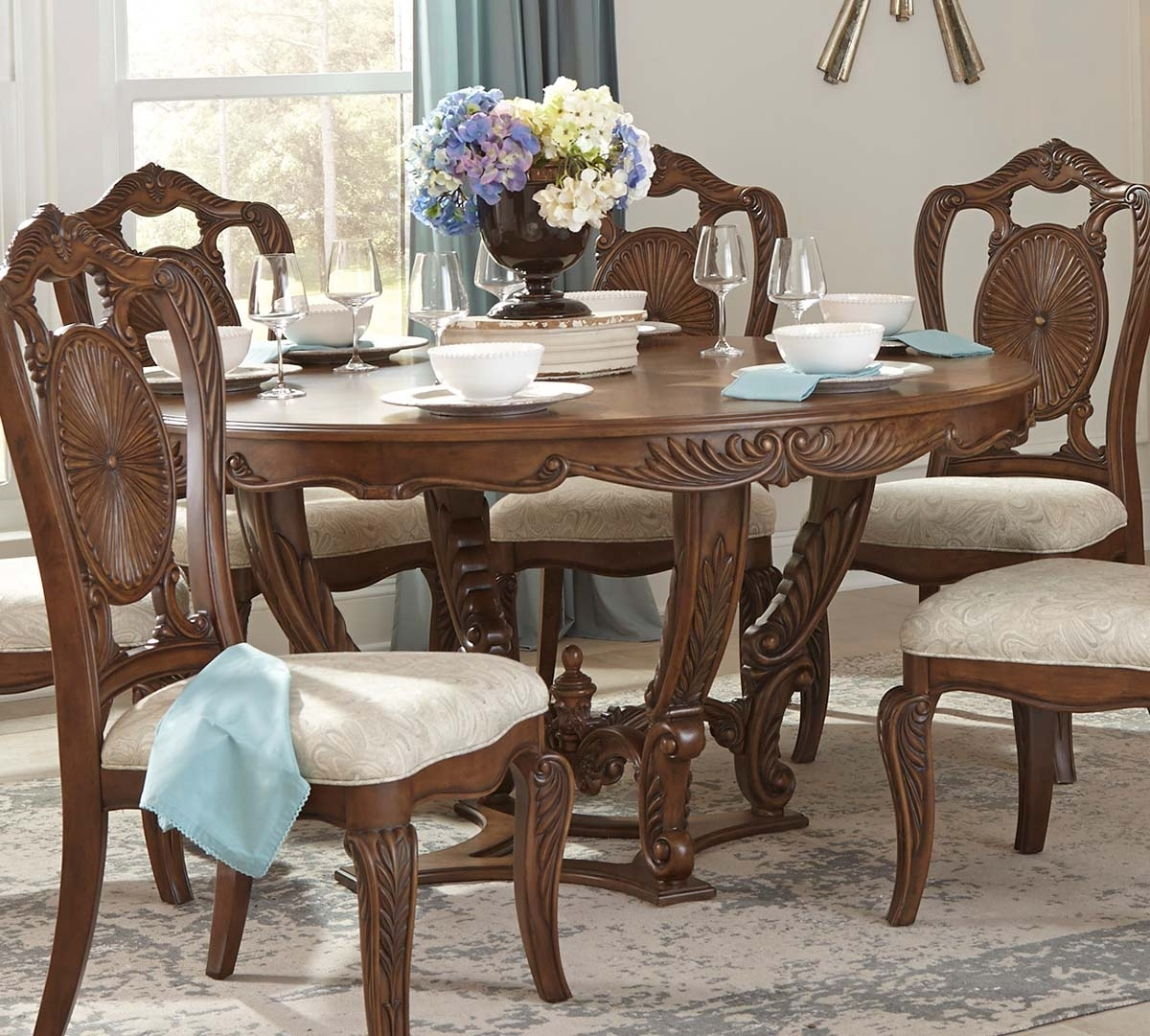 Homelegance Moorewood Park Round Dining Table With Leaf – Pecan 1704 With Best And Newest Bale Rustic Grey Dining Tables (Image 14 of 20)