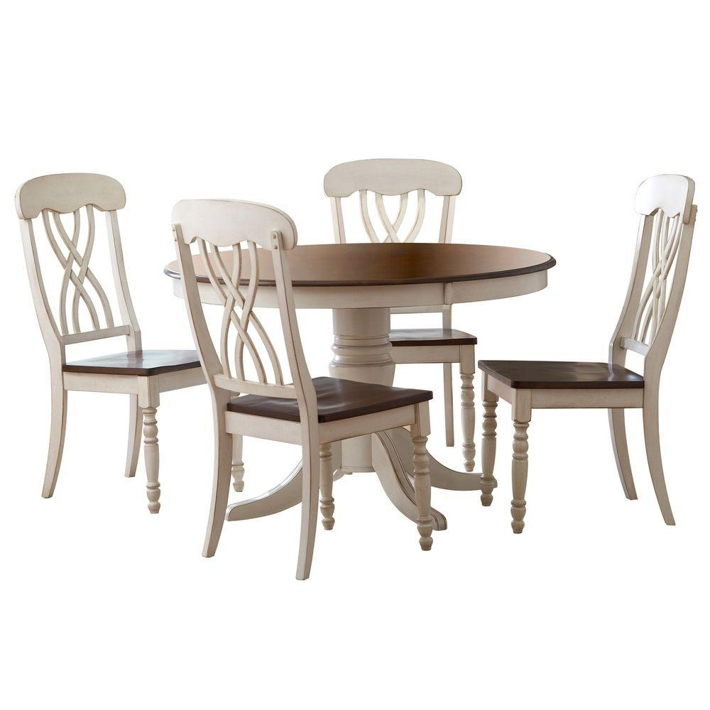 Homesullivan 5 Piece Antique White And Cherry Dining Set 401393W 48 In Most Recent Craftsman Round Dining Tables (Image 8 of 20)