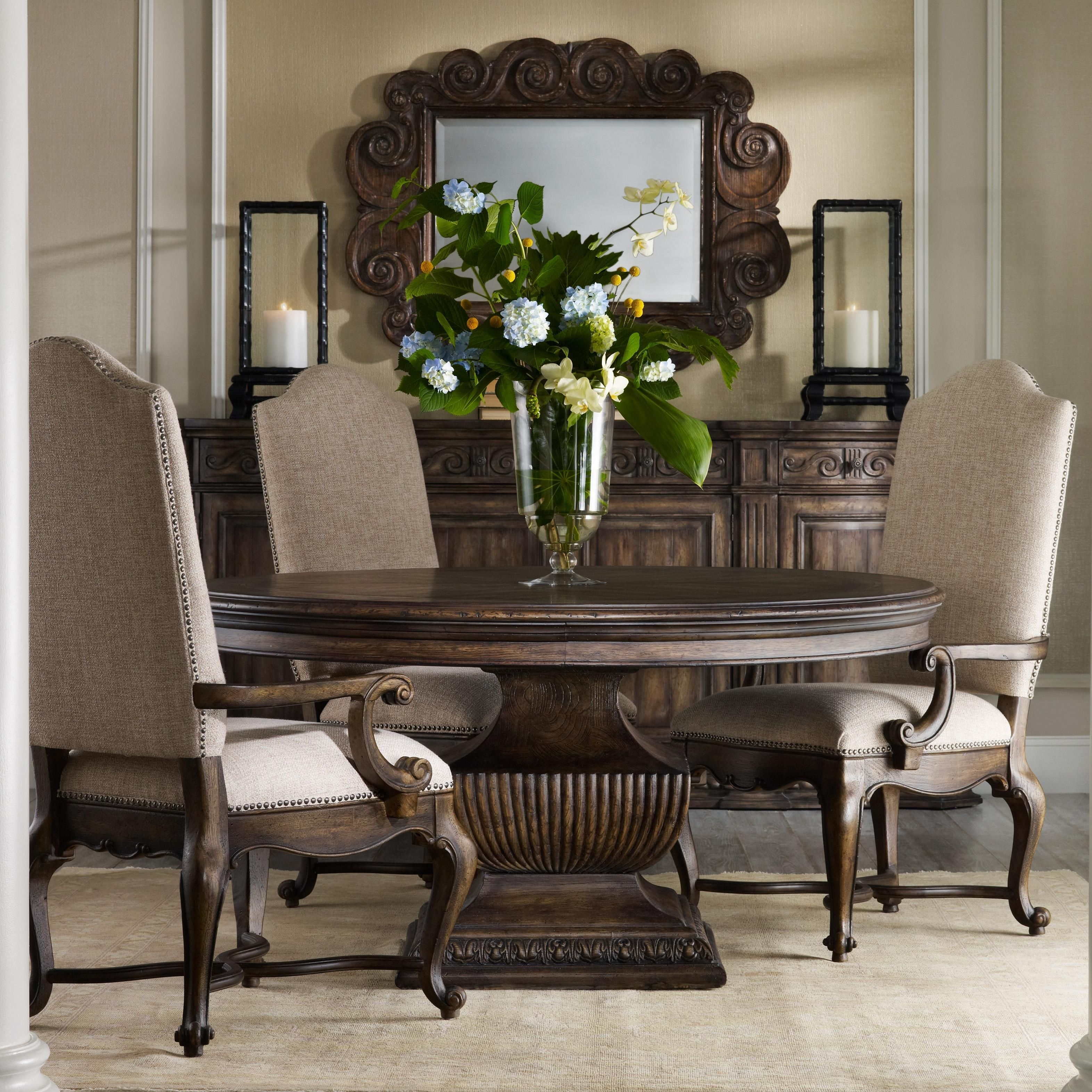 "Hooker Furniture: Rhapsody 60"" Round Pedestal Table And Upholstered Regarding Newest Valencia 60 Inch Round Dining Tables (Image 9 of 20)"